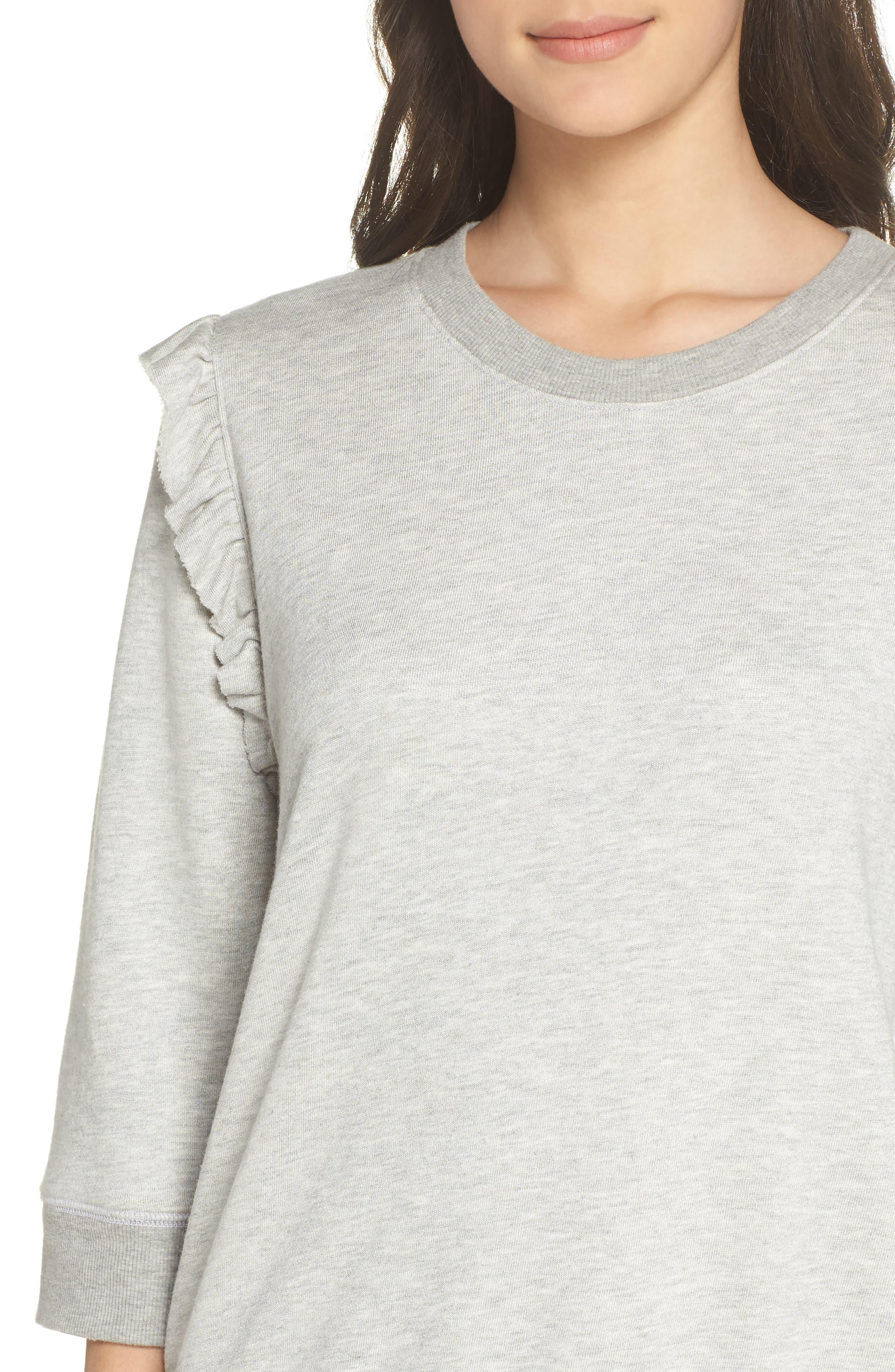 Ruffle Sweatshirt,                             Alternate thumbnail 4, color,                             HEATHER GREY