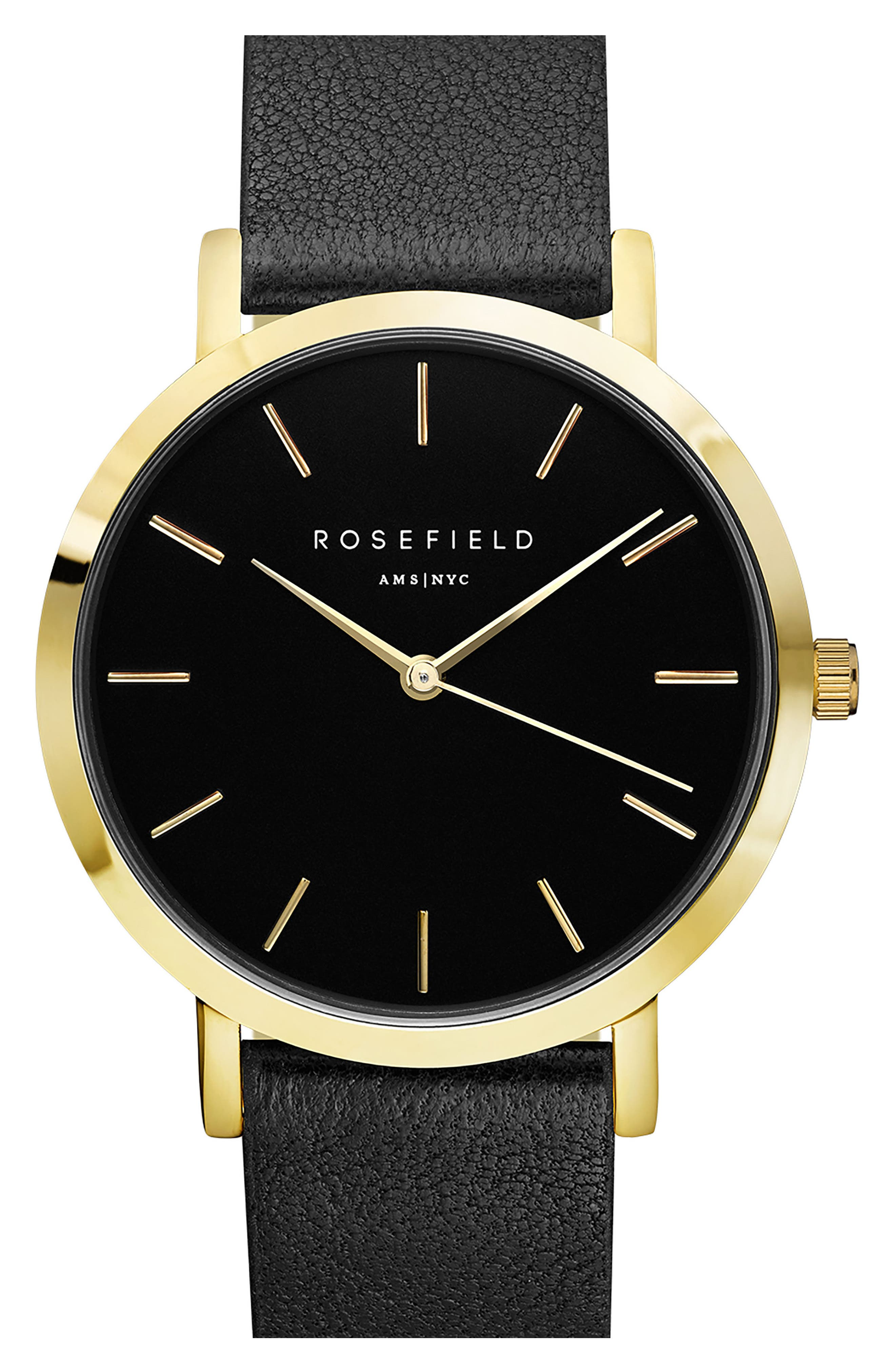 Gramercy Leather Strap Watch, 38mm,                         Main,                         color, BLACK/ GOLD