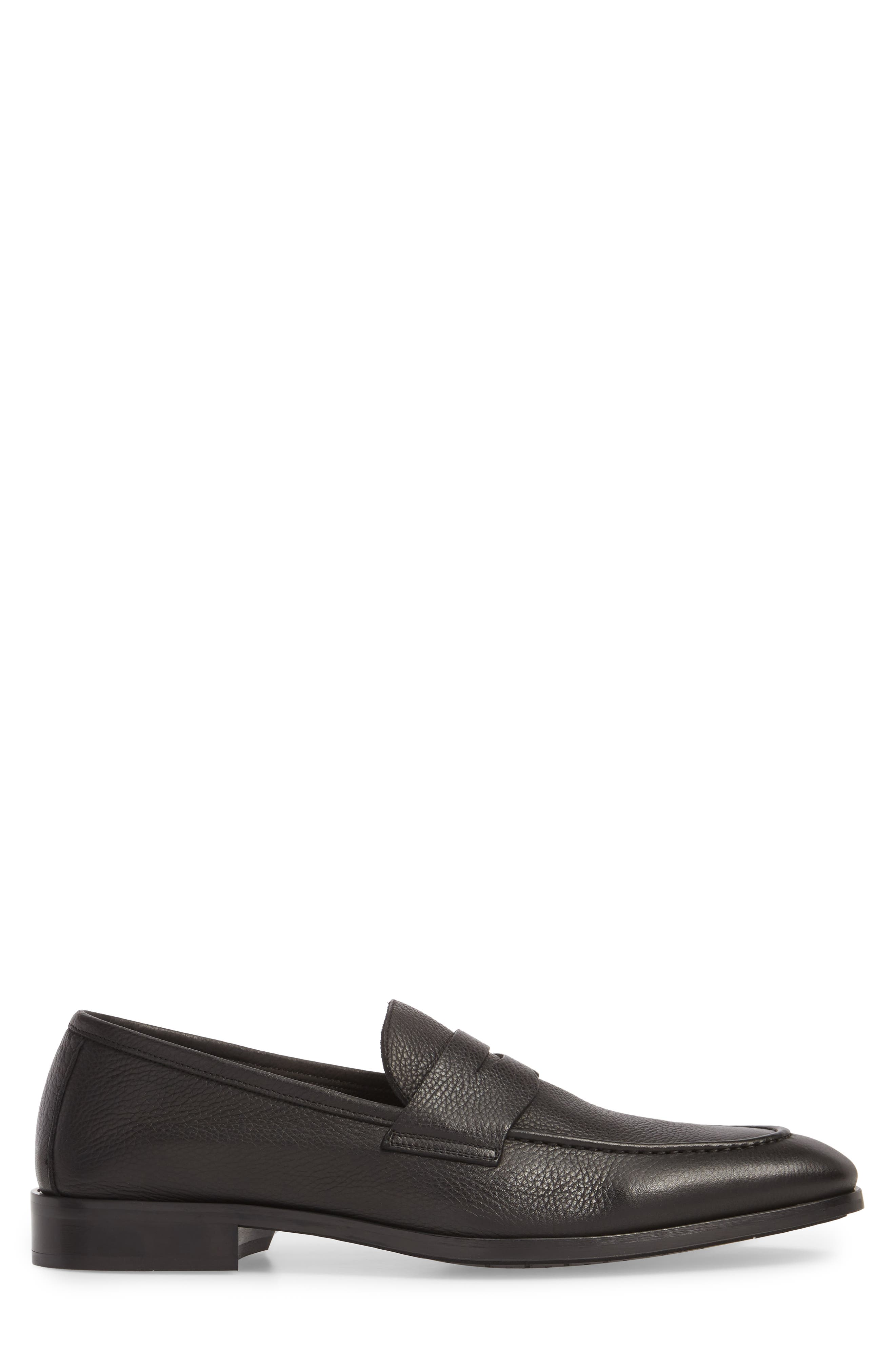 TO BOOT NEW YORK,                             Johnson Penny Loafer,                             Alternate thumbnail 3, color,                             BLACK PEBBLED LEATHER