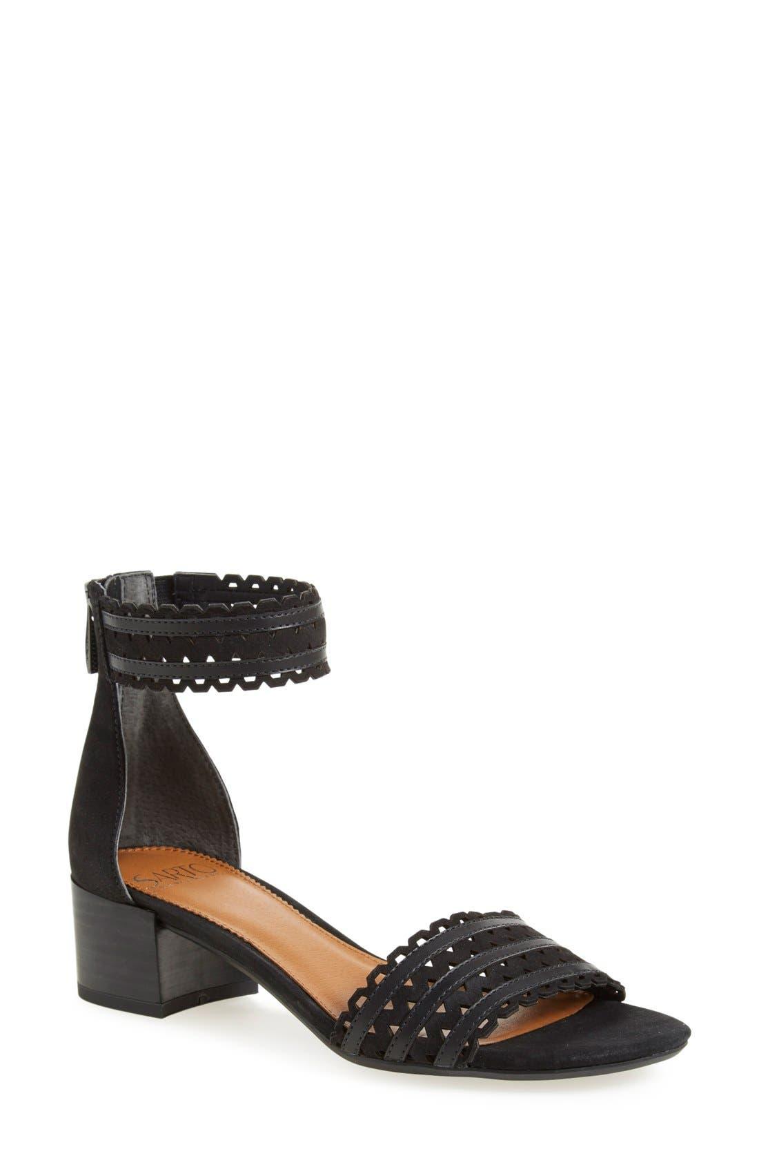 'Fidela' Block Heel Sandal,                             Main thumbnail 1, color,                             001