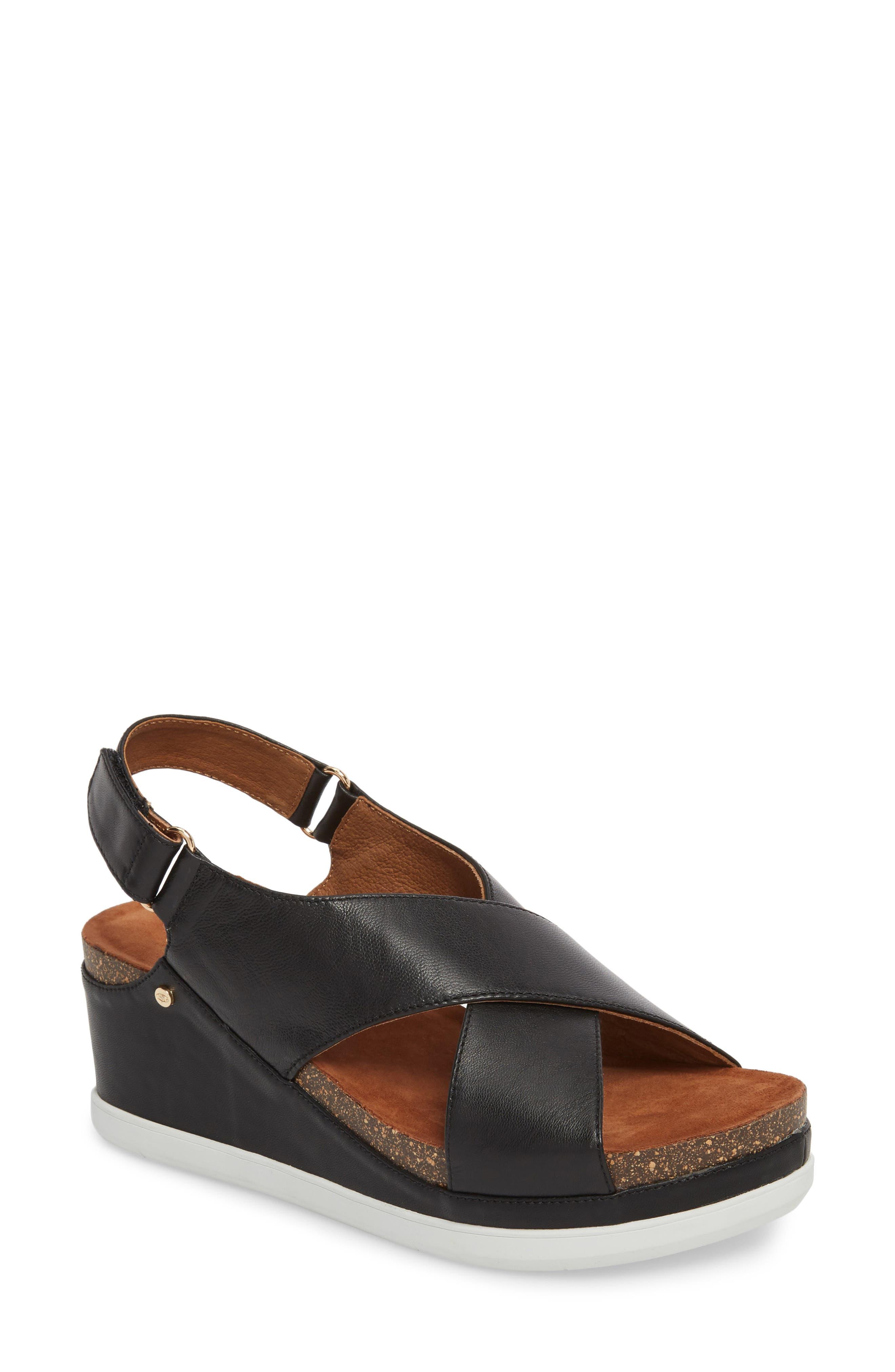 Sudini Pamela Slingback Wedge Sandal W - Black