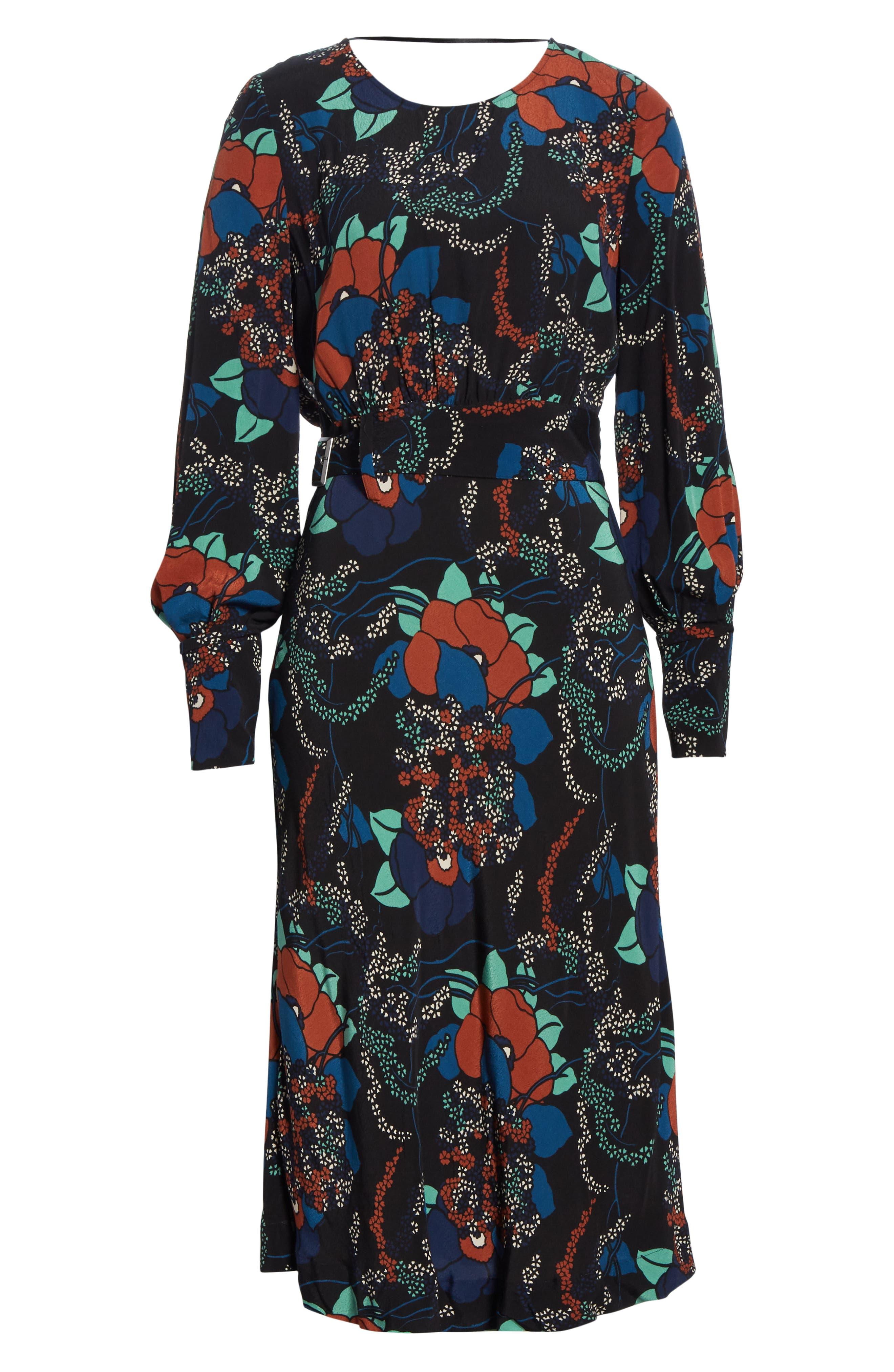 Abelia Floral Plunge Back Silk Dress,                             Alternate thumbnail 7, color,                             NOIR