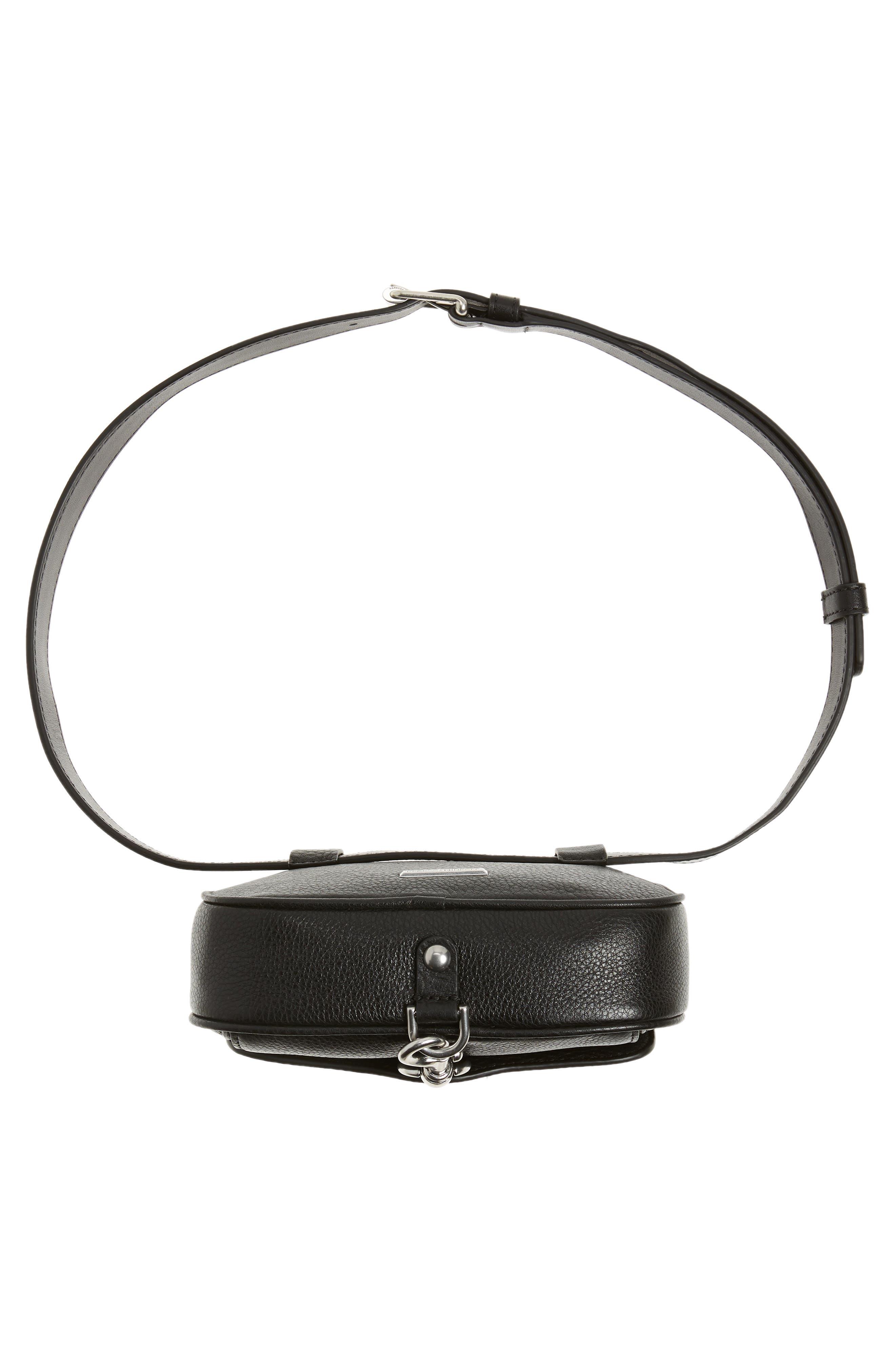 Blythe Leather Belt Bag,                             Alternate thumbnail 7, color,                             BLACK