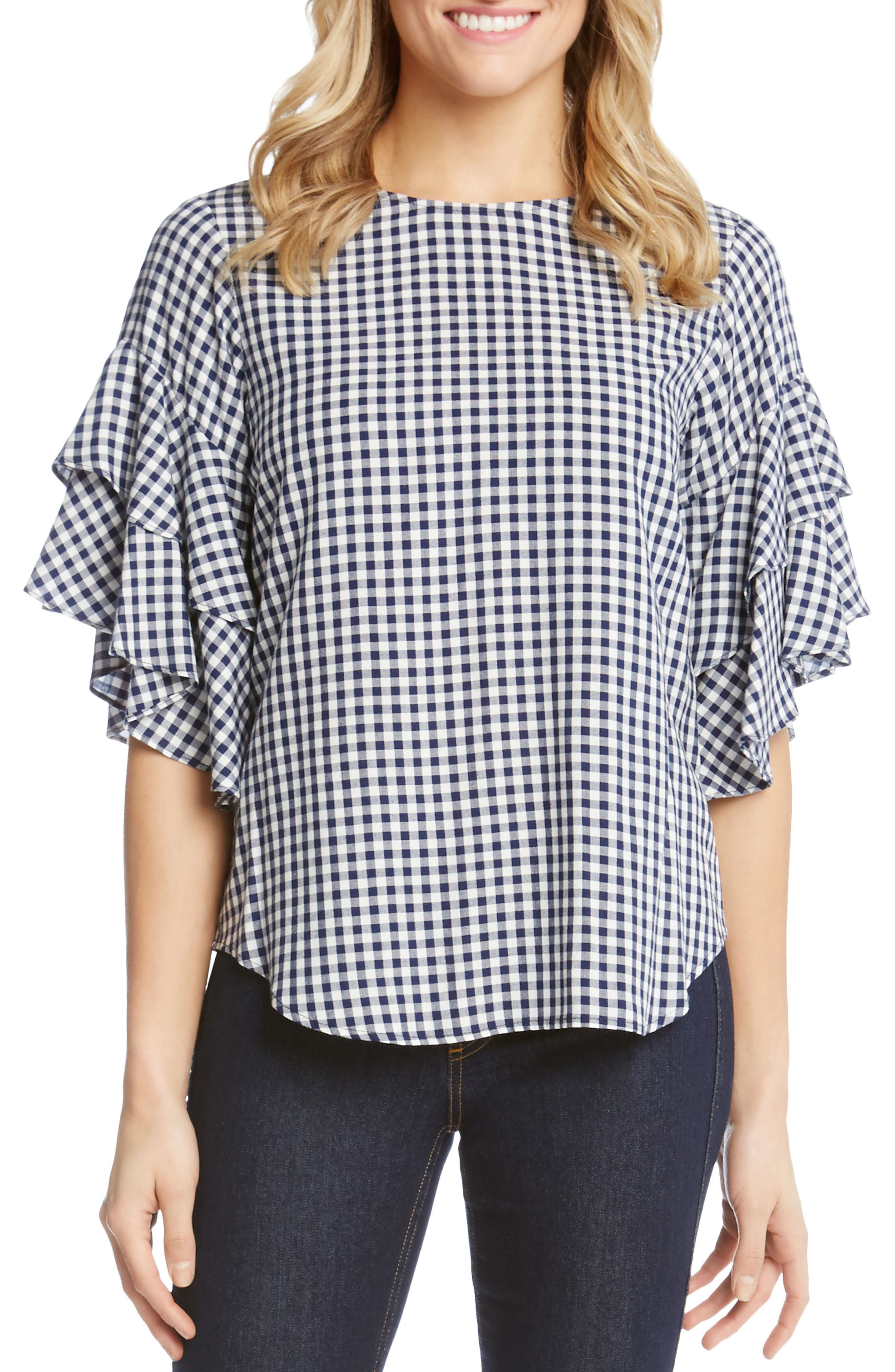 Ruffle Sleeve Gingham Blouse,                         Main,                         color,