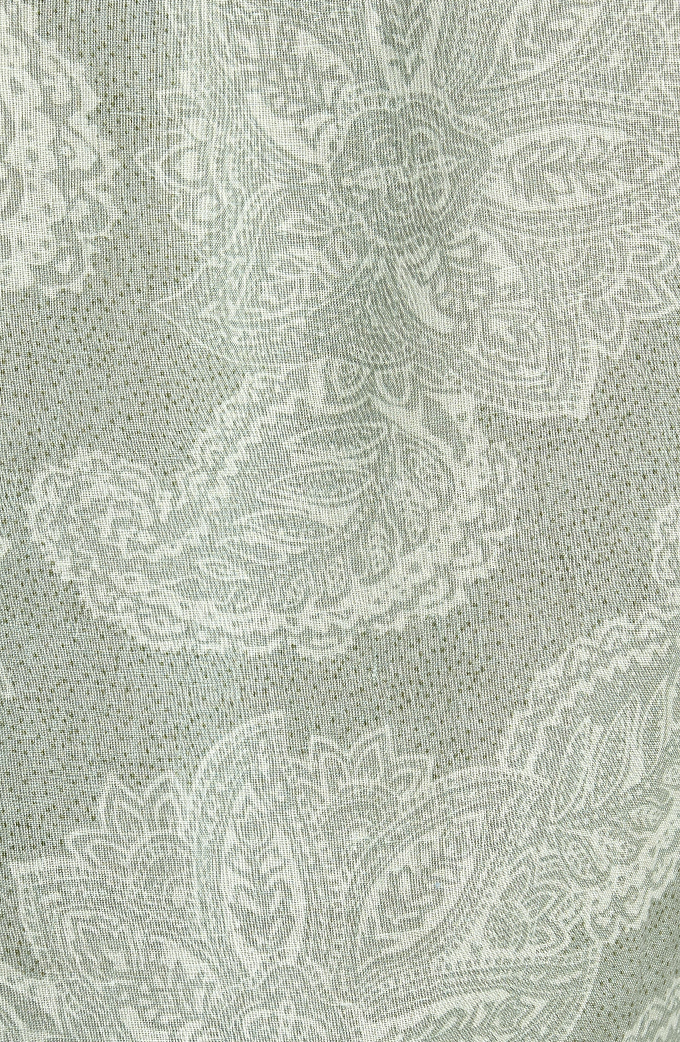Paisley Linen Camp Shirt,                             Alternate thumbnail 5, color,                             310