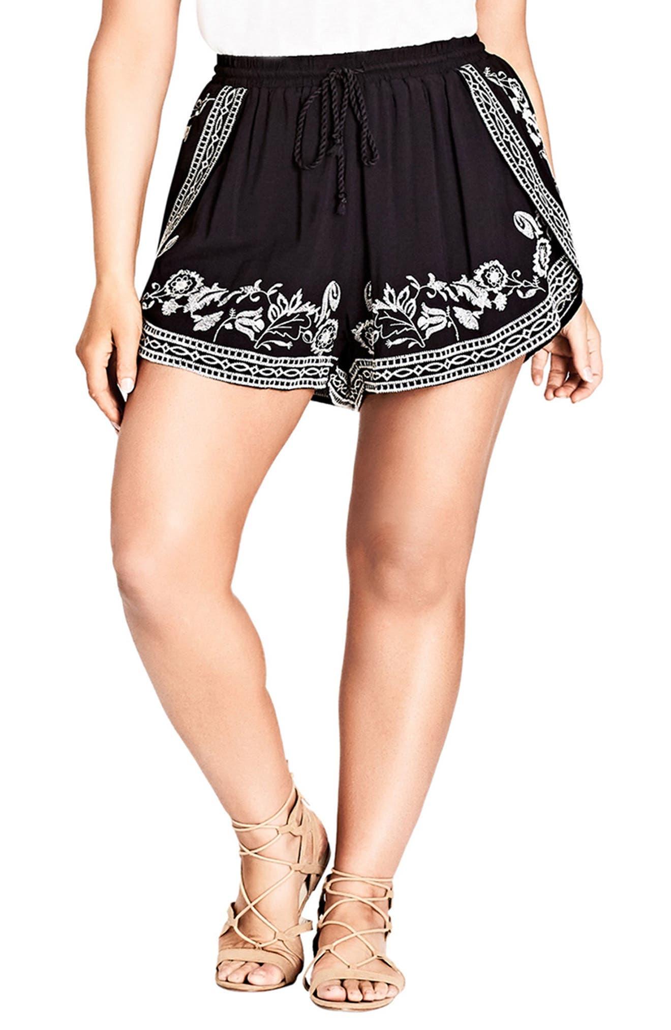 Stella Embroidered Shorts,                             Main thumbnail 1, color,                             001