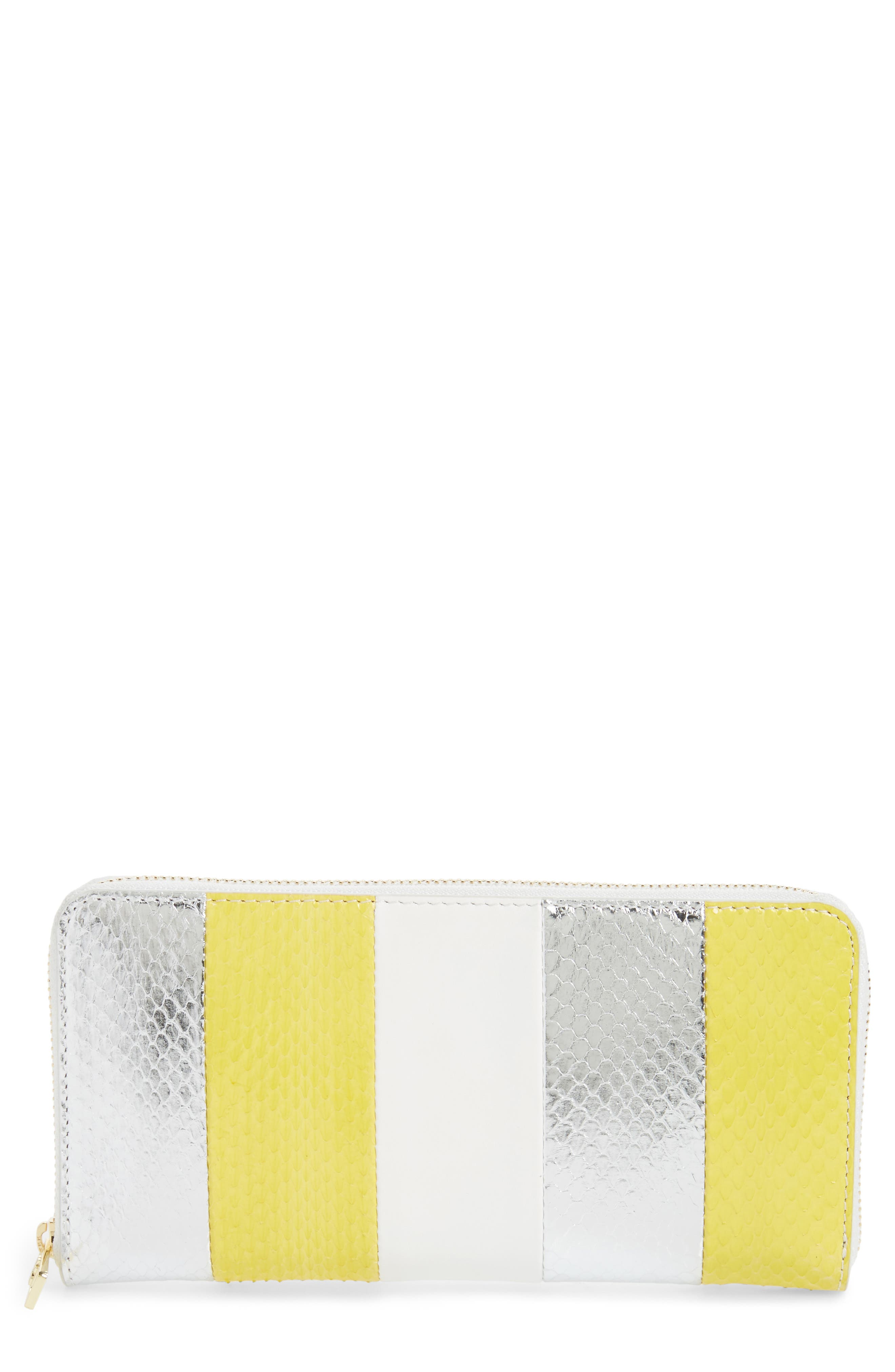 Leather & Genuine Snakeskin Continental Zip Wallet,                         Main,                         color, 700