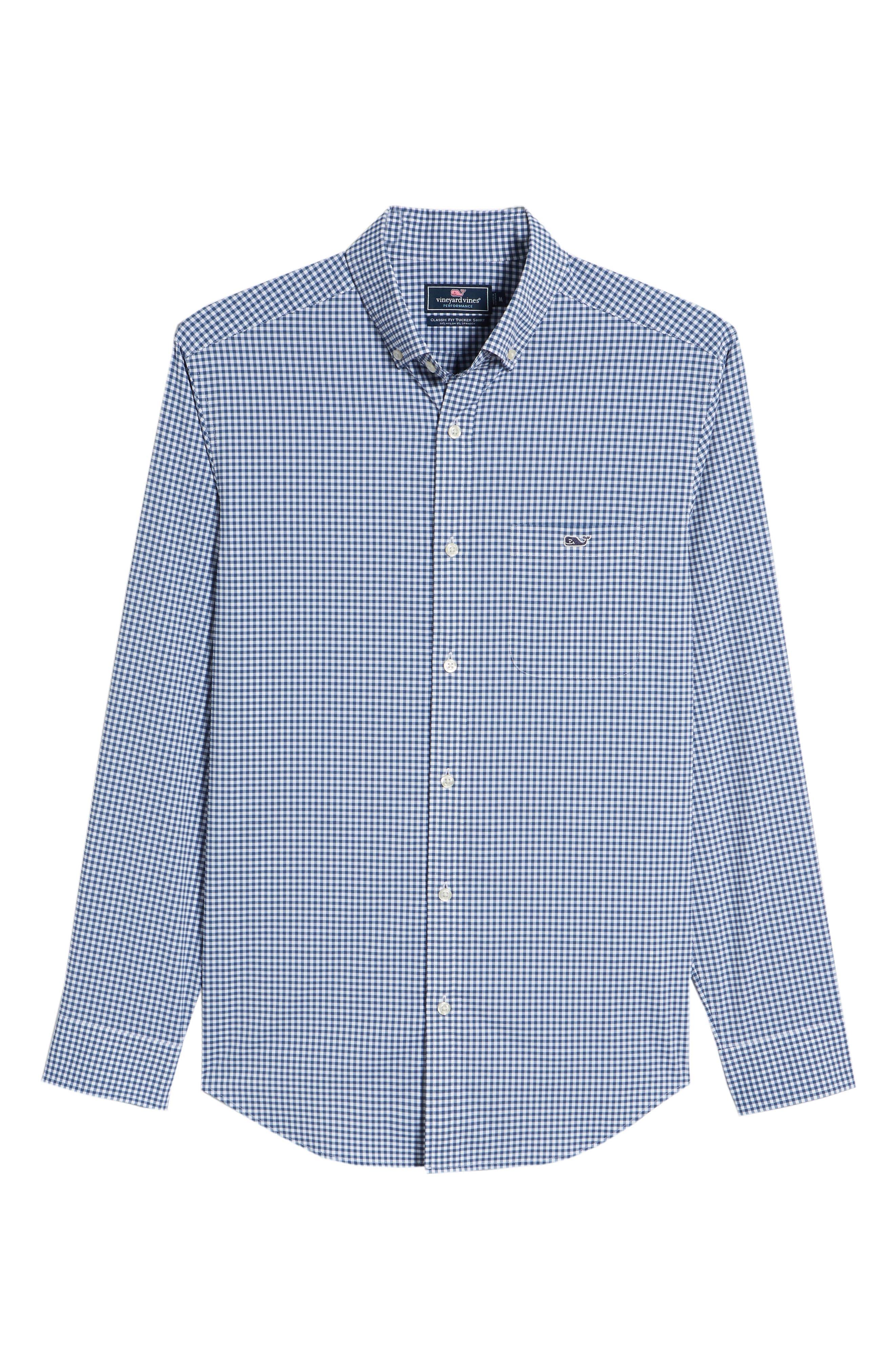 Grand Cay Tucker Regular Fit Gingham Performance Sport Shirt,                             Alternate thumbnail 6, color,                             MOONSHINE