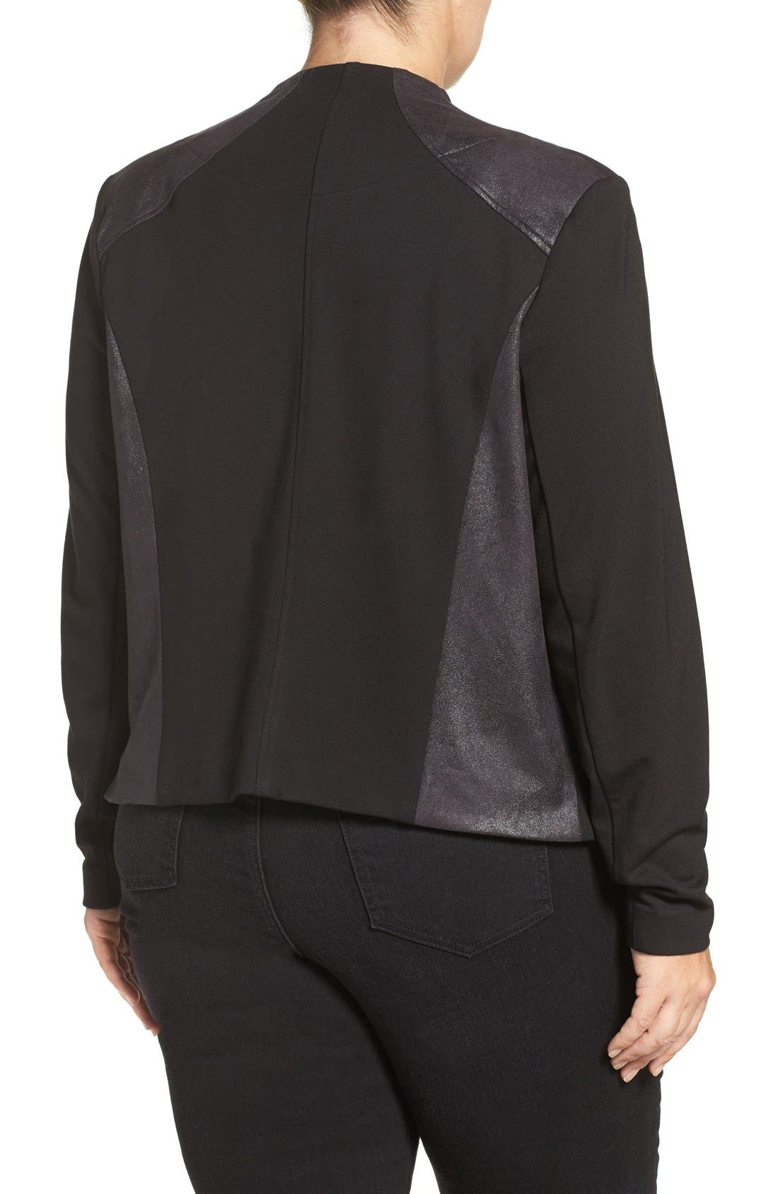 'Shanan' Faux Leather & Knit Drape Front Jacket,                             Alternate thumbnail 2, color,                             BLACK