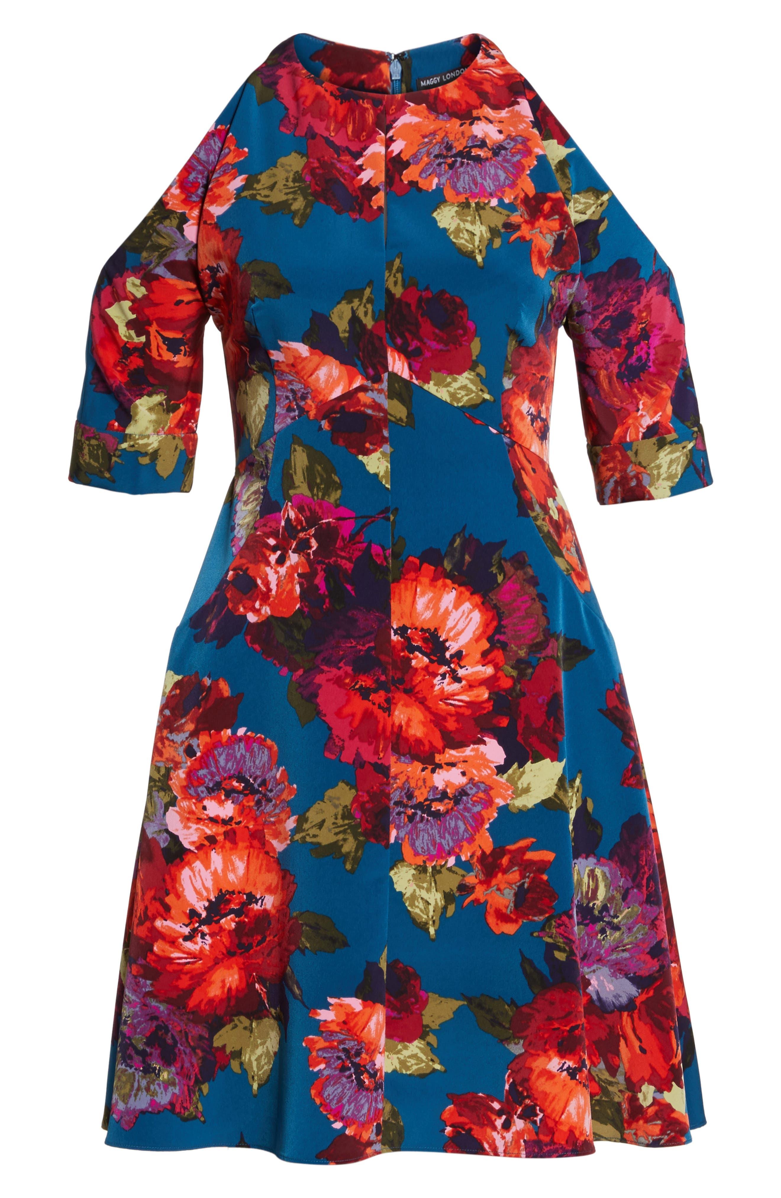 Cold Shoulder Fit & Flare Dress,                             Alternate thumbnail 6, color,                             490