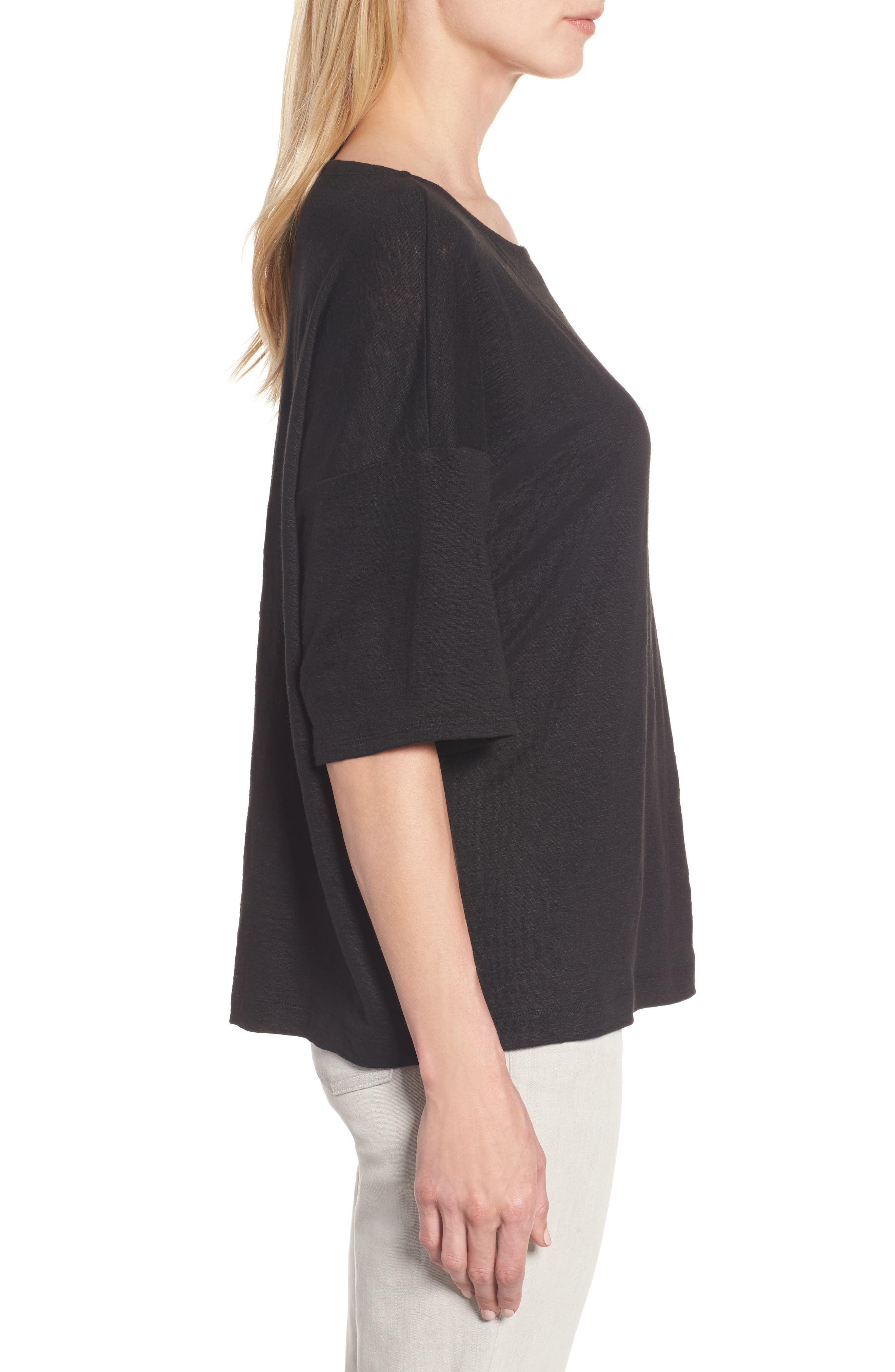 Organic Linen Jersey Boxy Top,                             Alternate thumbnail 15, color,