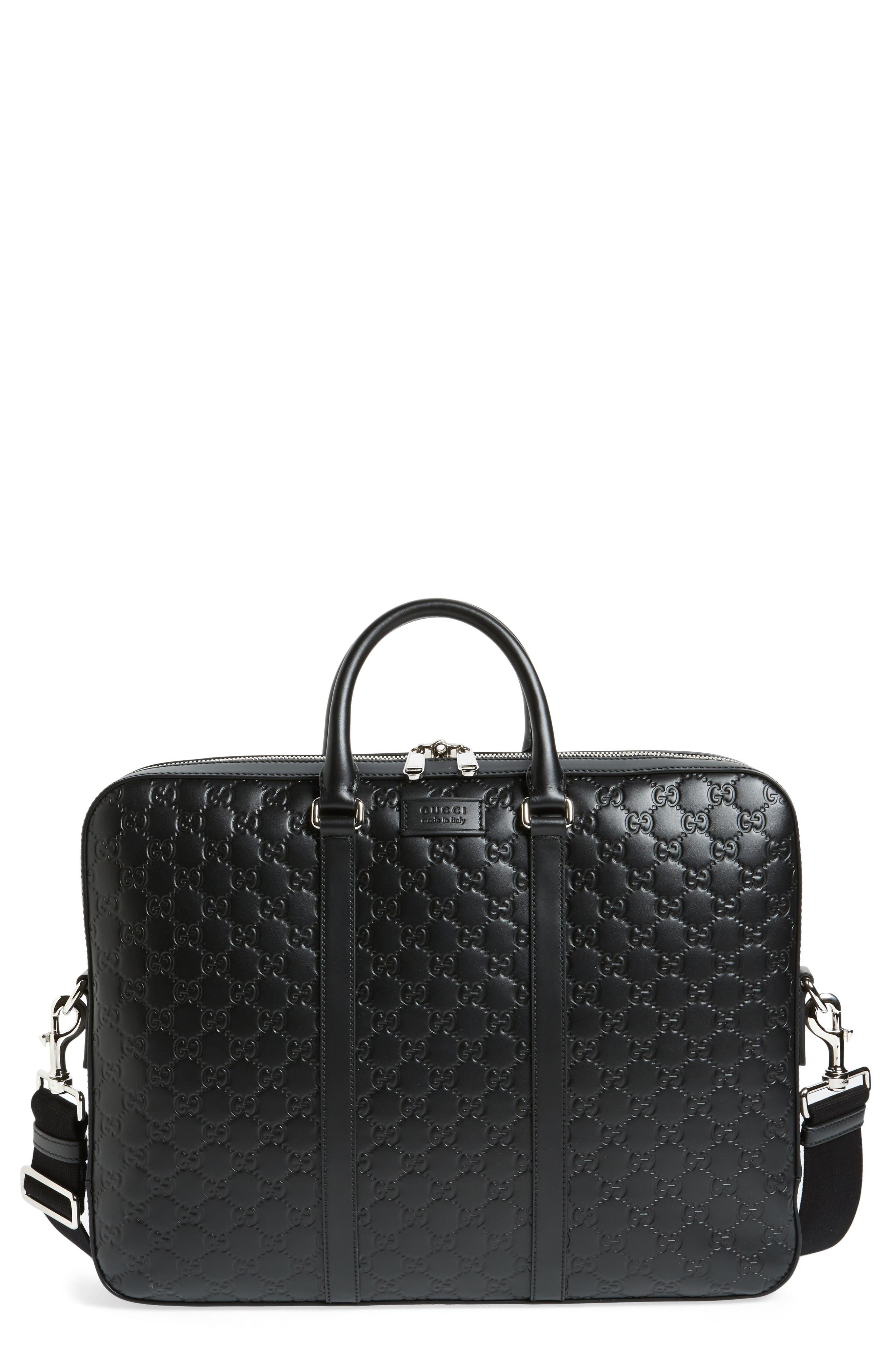 Signature Leather Briefcase,                             Main thumbnail 1, color,                             001