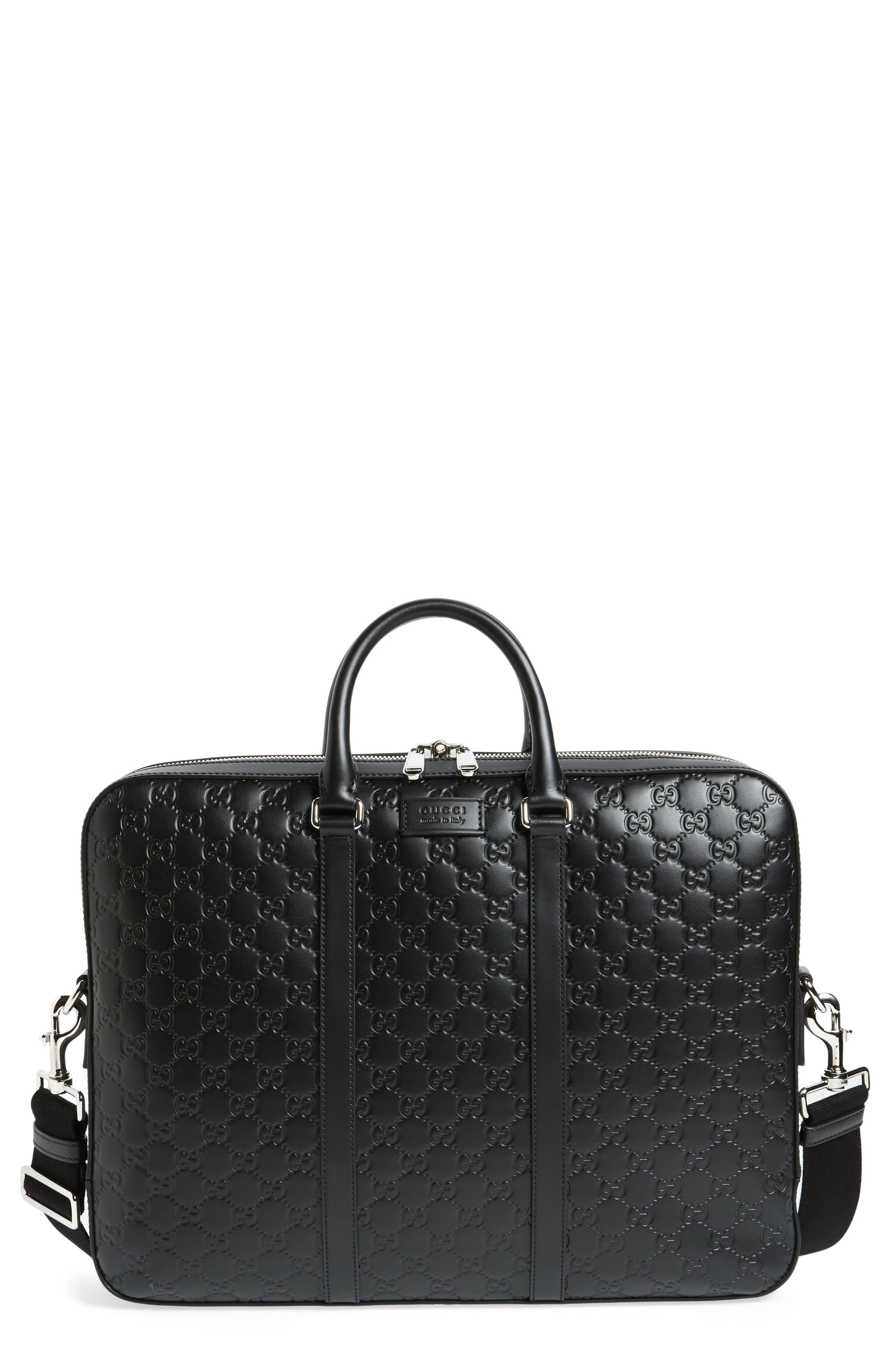Signature Leather Briefcase,                         Main,                         color, 001