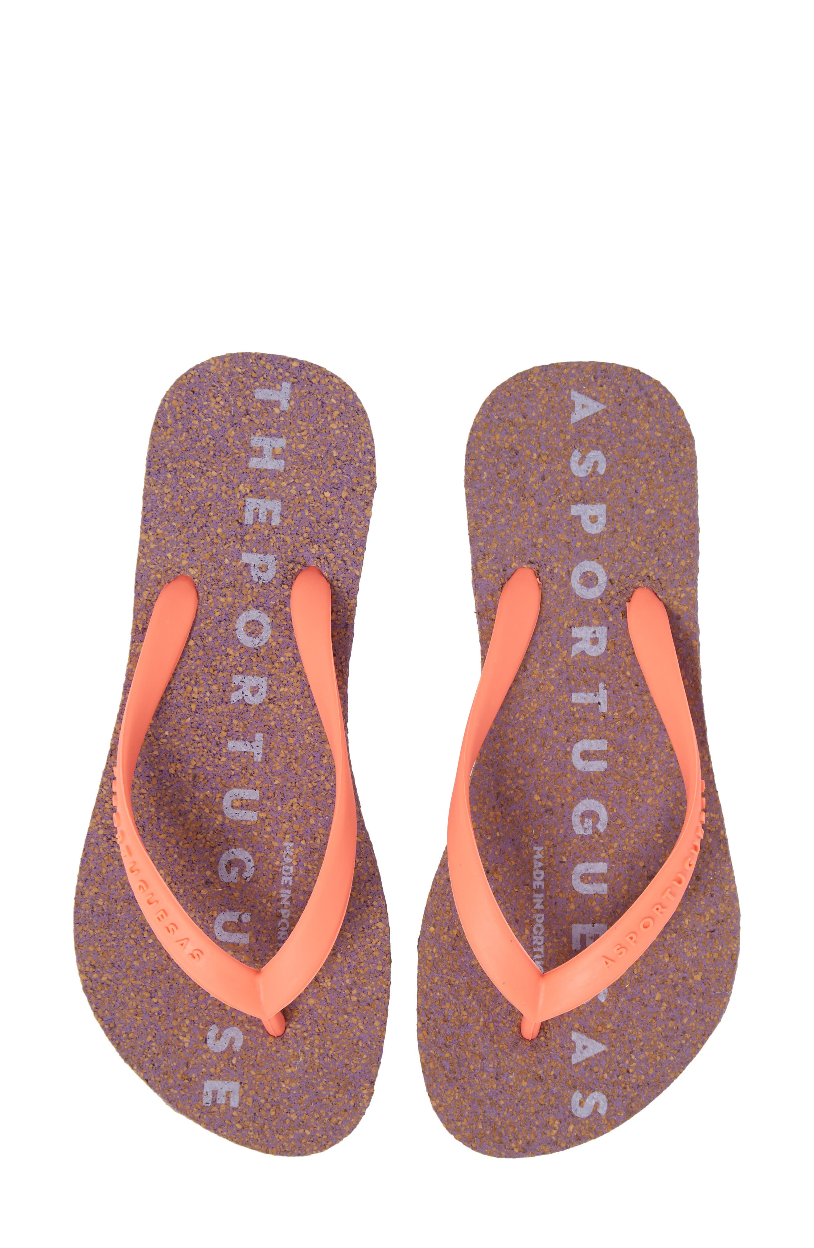 Base 000 Flip Flop,                             Main thumbnail 1, color,                             CORAL/ PURPLE FABRIC