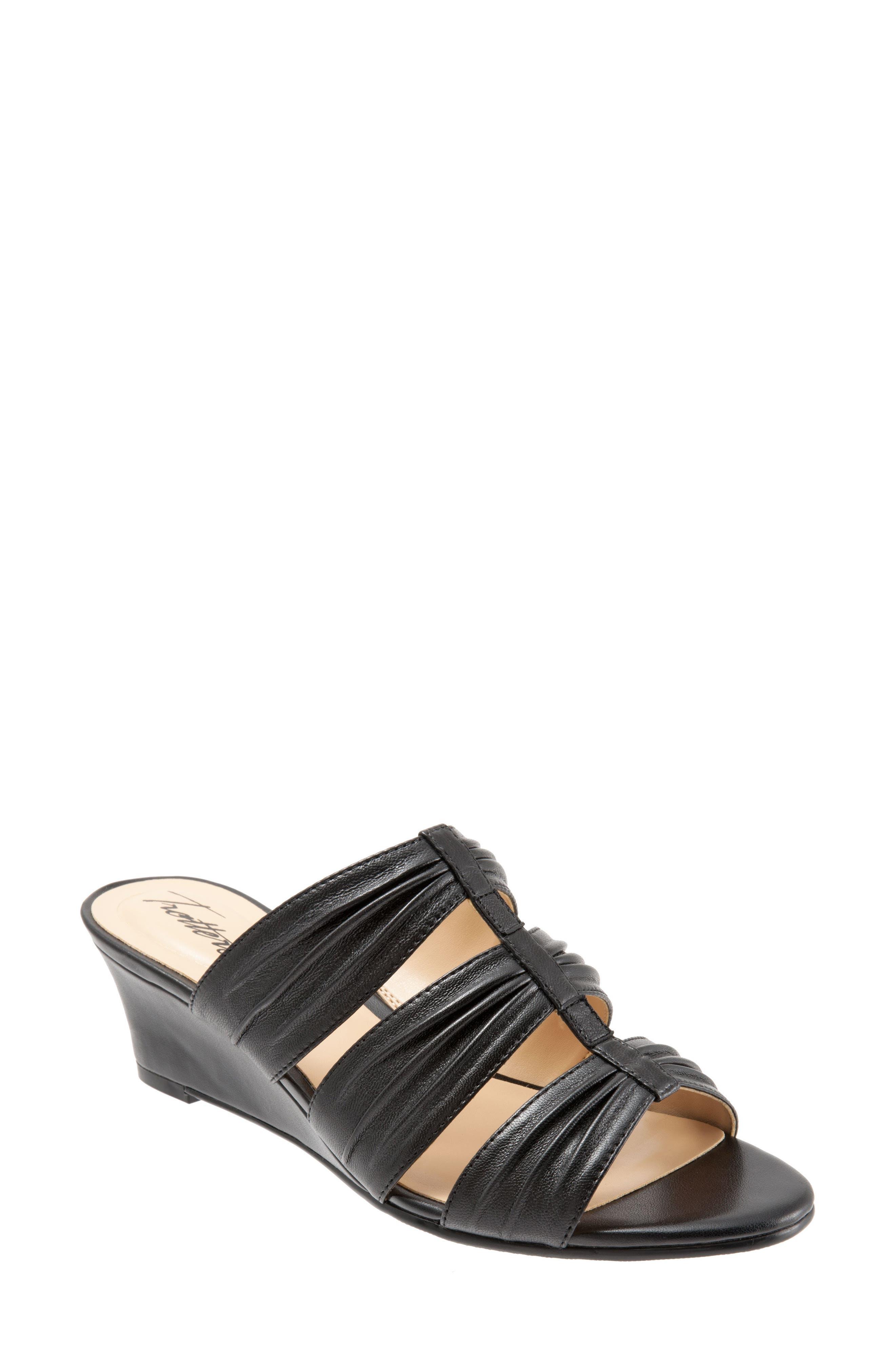 Mia Wedge Sandal,                         Main,                         color, BLACK LEATHER