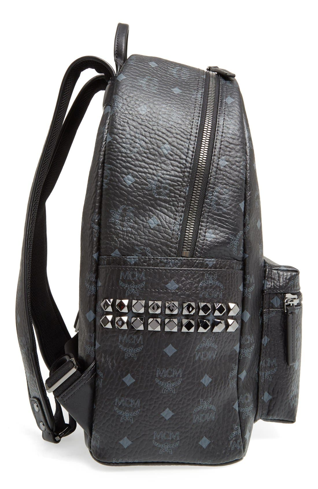 MediumStark Visetos Coated Canvas Backpack,                             Alternate thumbnail 5, color,                             BLACK