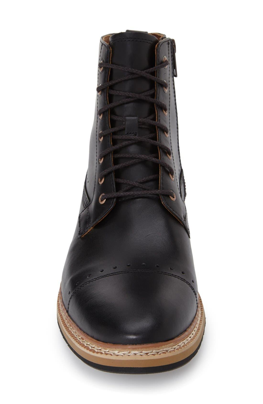 'Westhaven' Cap Toe Boot,                             Alternate thumbnail 3, color,                             BLACK LEATHER