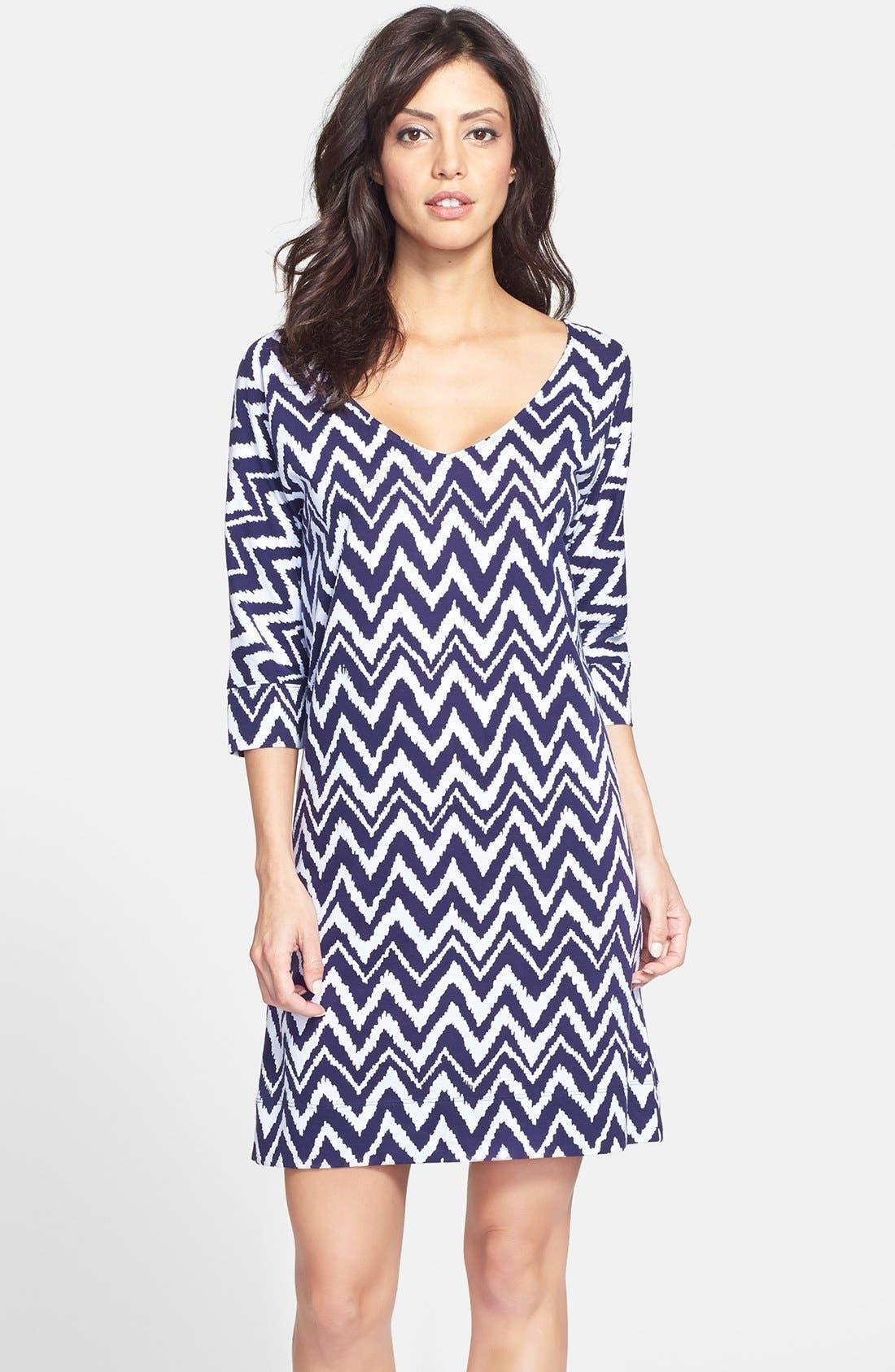 'Eliza' Chevron Pima Cotton Shift Dress, Main, color, 410