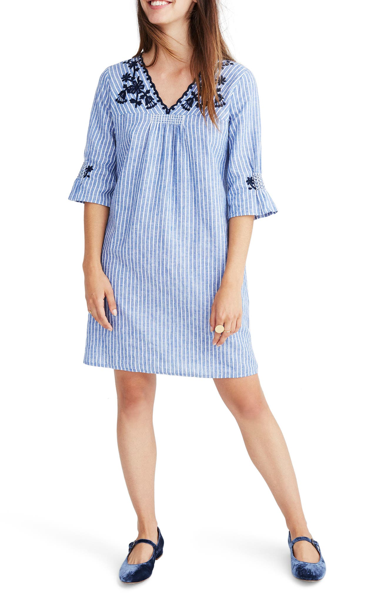 Breeze Embroidered Shift Dress,                         Main,                         color, 400