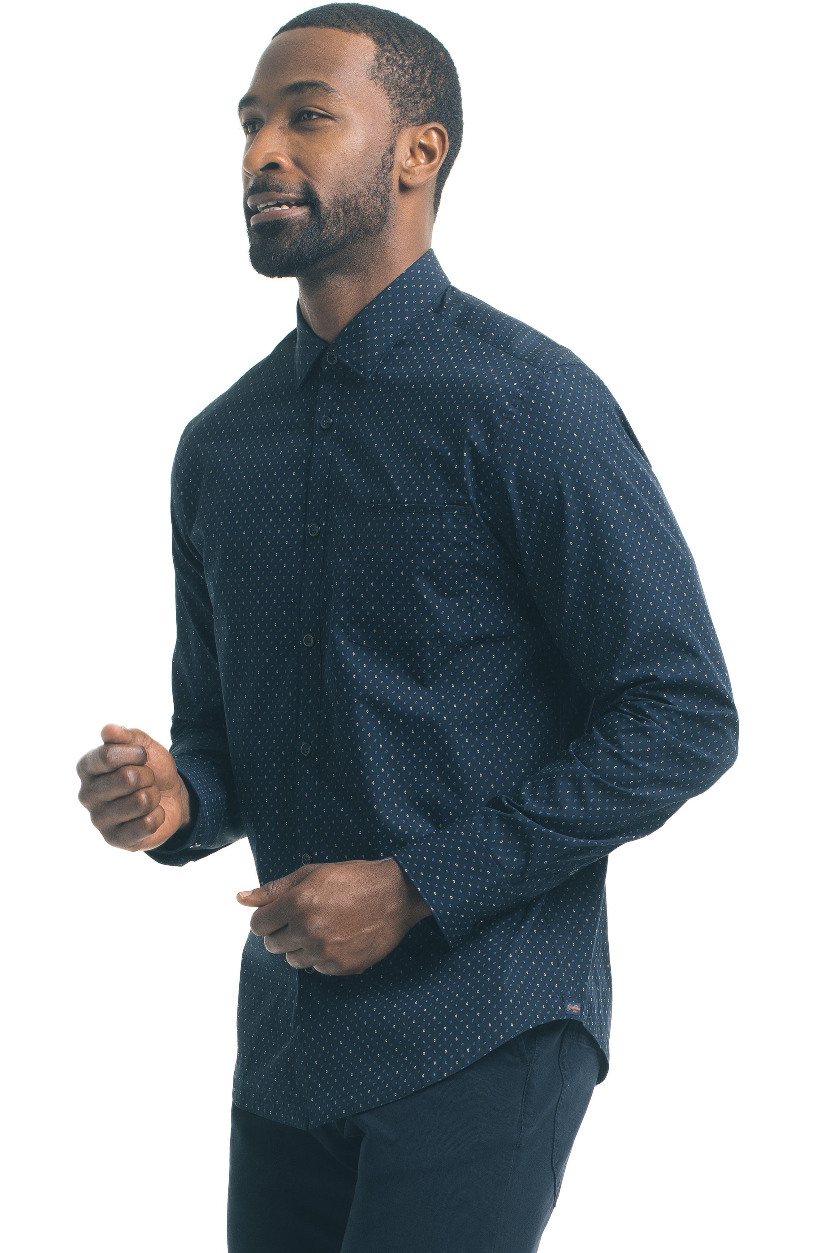 Slim Fit Diamond Print Sport Shirt,                             Alternate thumbnail 5, color,