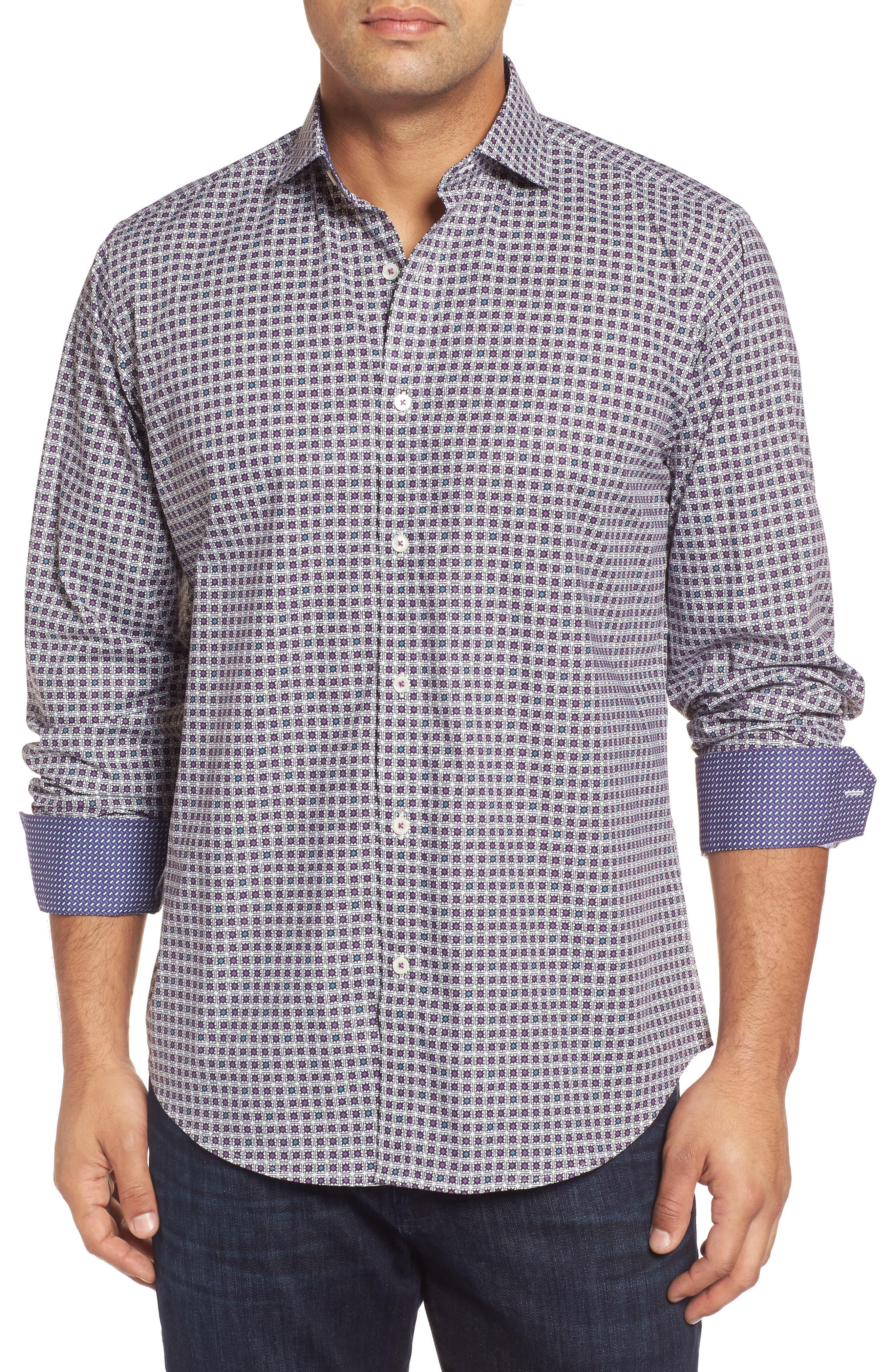 Classic Fit Geo Print Sport Shirt,                         Main,                         color, 102