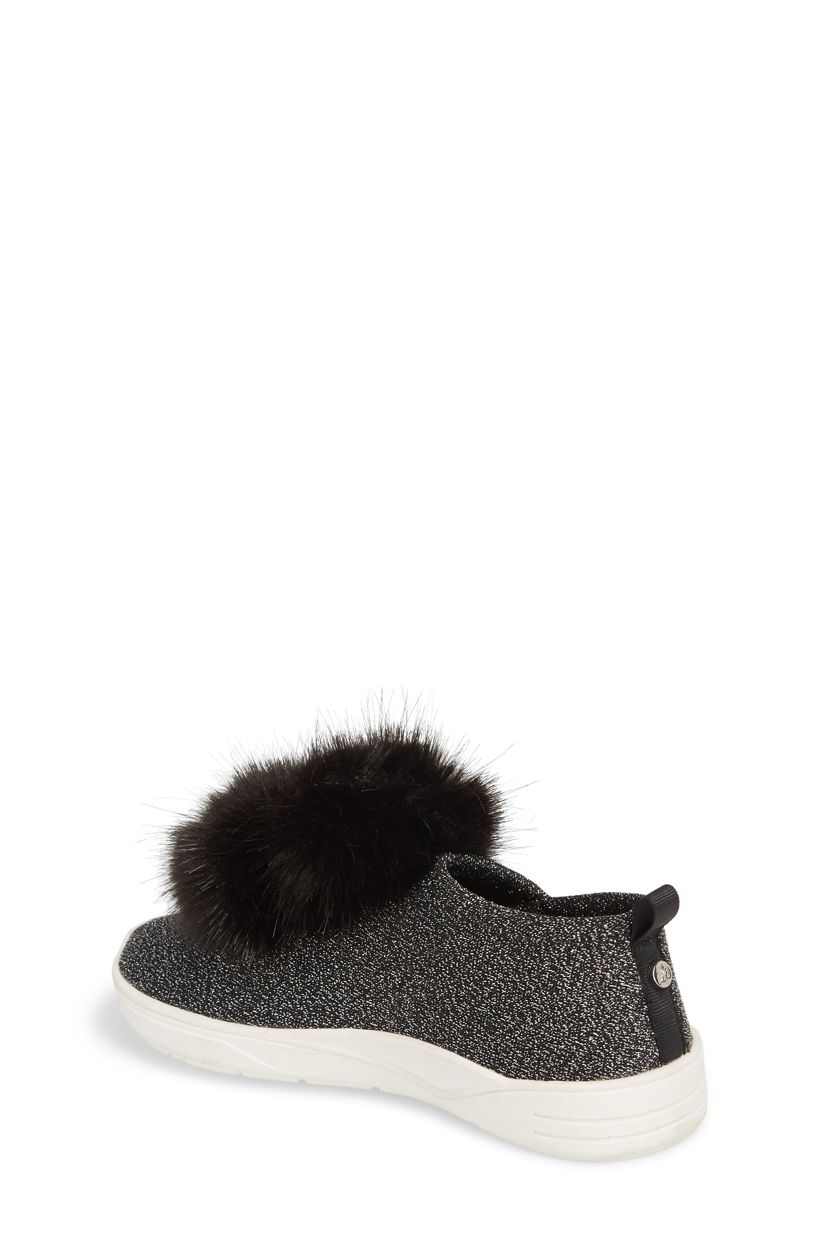 Ariana Pom Glitter Sneaker,                             Alternate thumbnail 2, color,                             BLACK SHIMMER