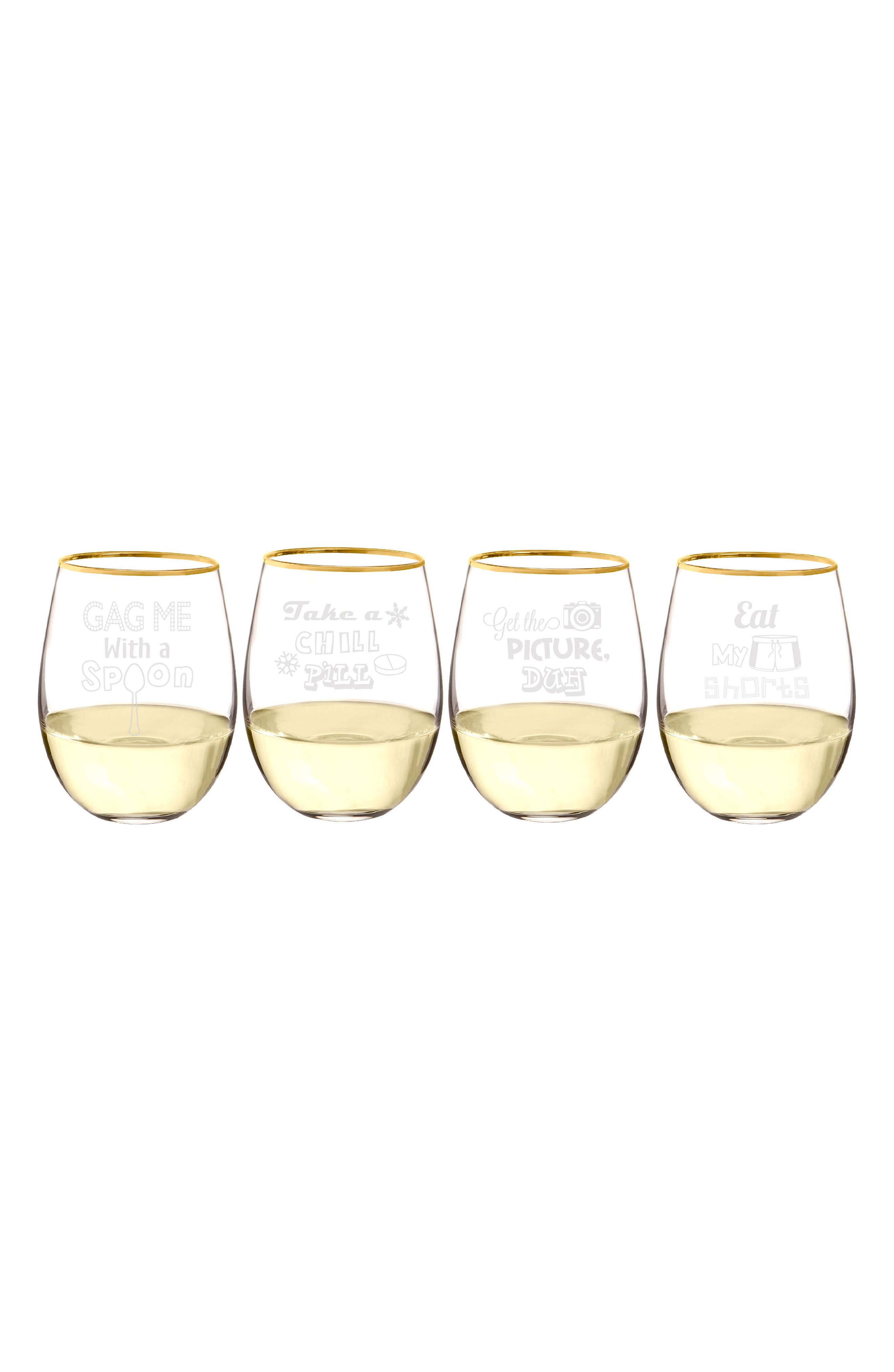 90's Sayings Set of 4 Etched Stemless Wine Glasses,                             Alternate thumbnail 4, color,                             100