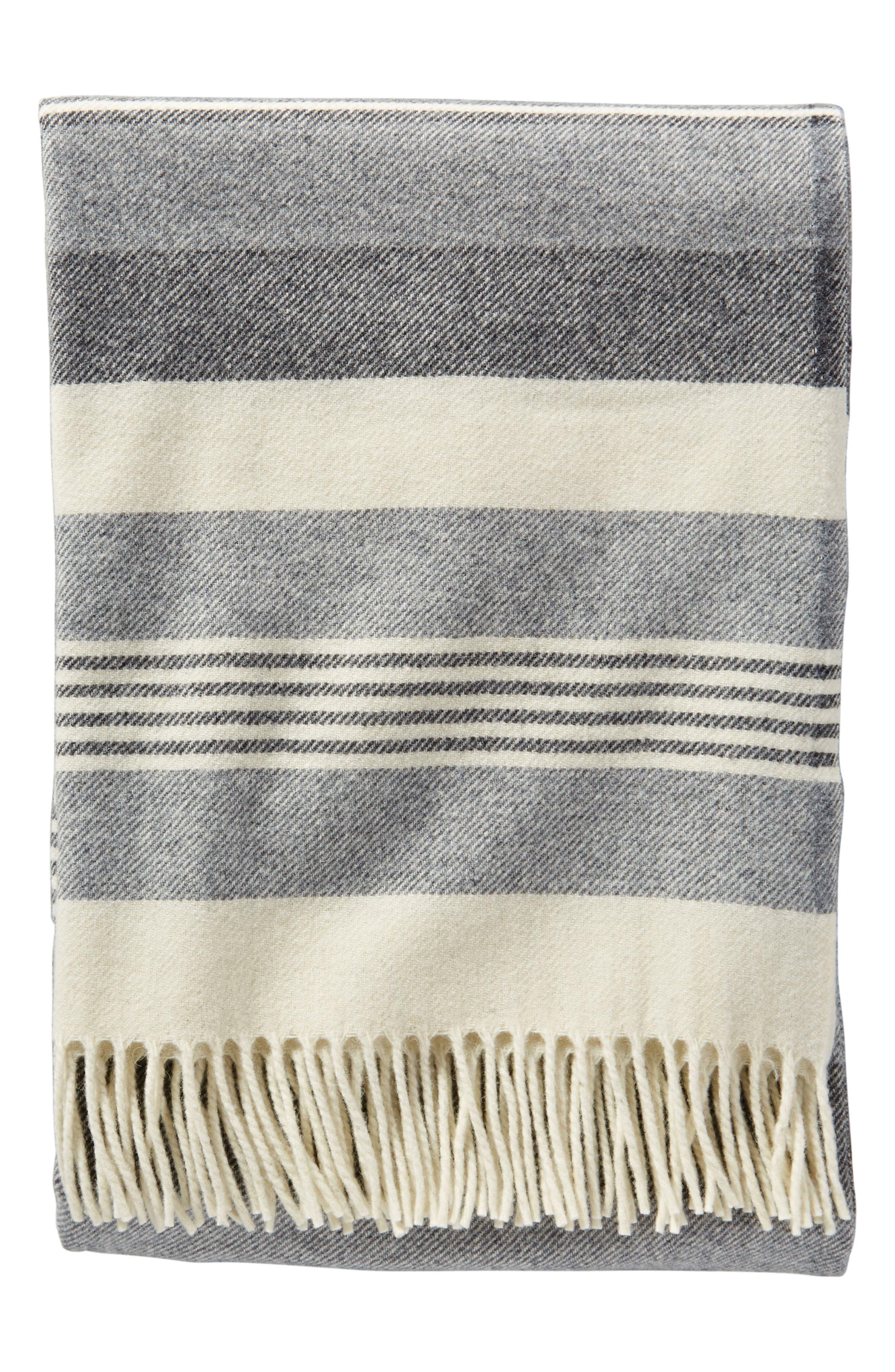 Horizon Stripe Lambswool Throw Blanket,                             Main thumbnail 1, color,                             DESERT DUSK