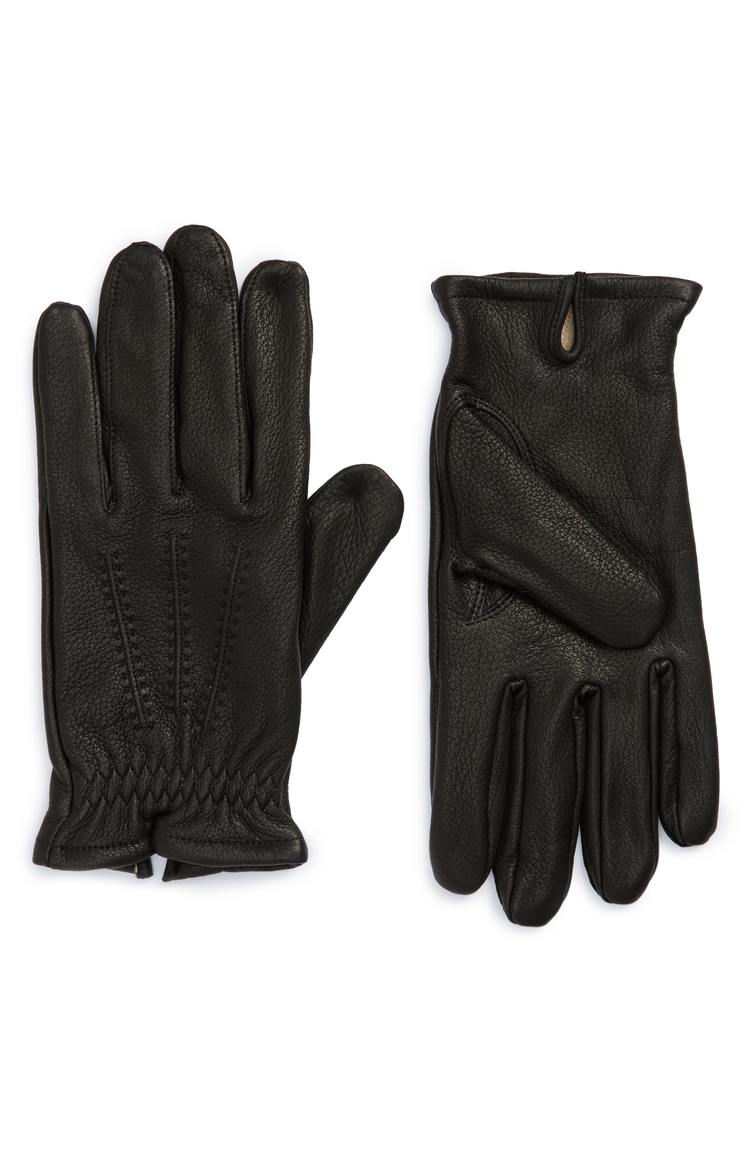 Deerskin Leather Gloves,                             Main thumbnail 1, color,                             001