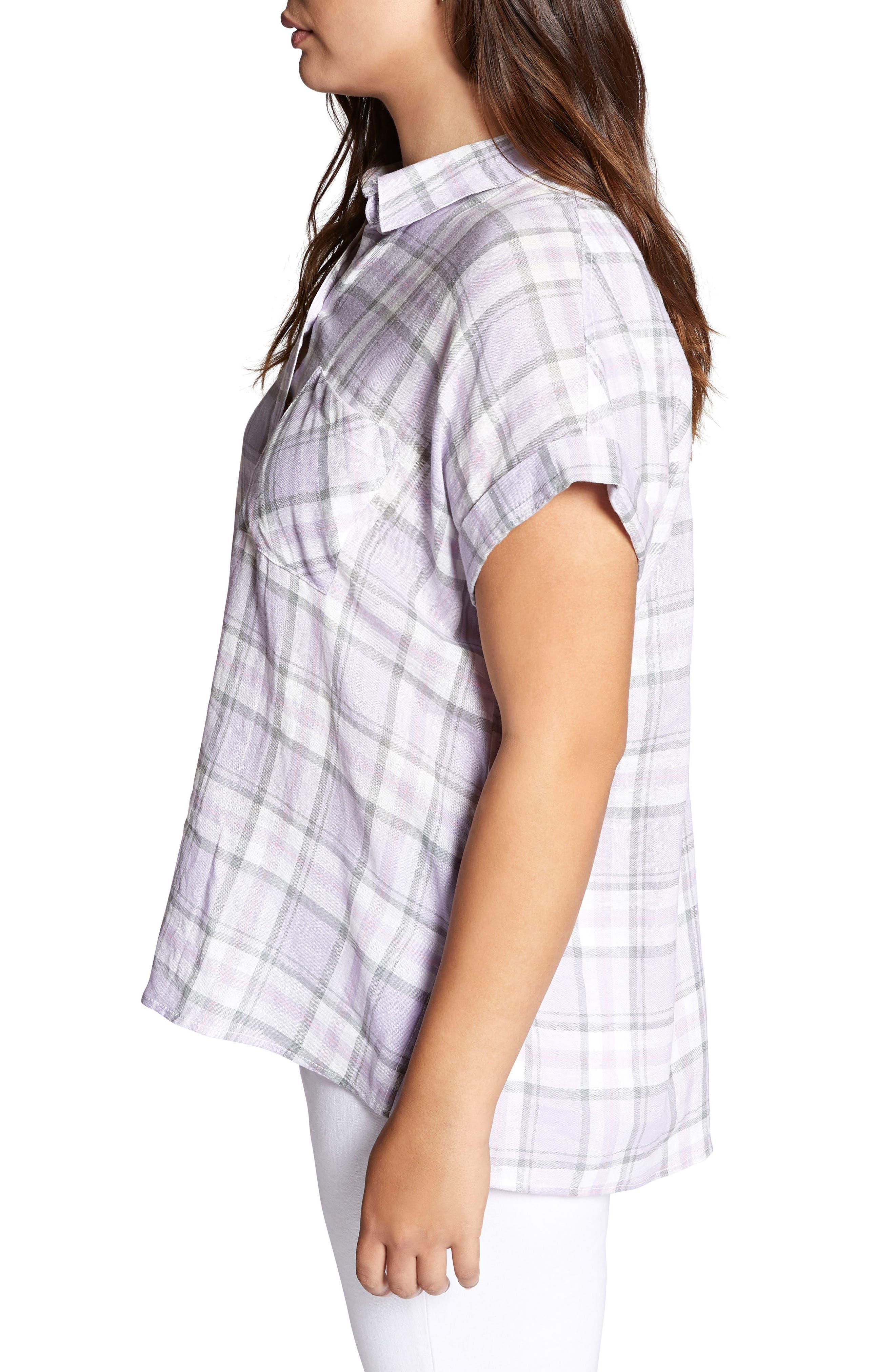Mod Short Sleeve Boyfriend Shirt,                             Alternate thumbnail 3, color,                             513