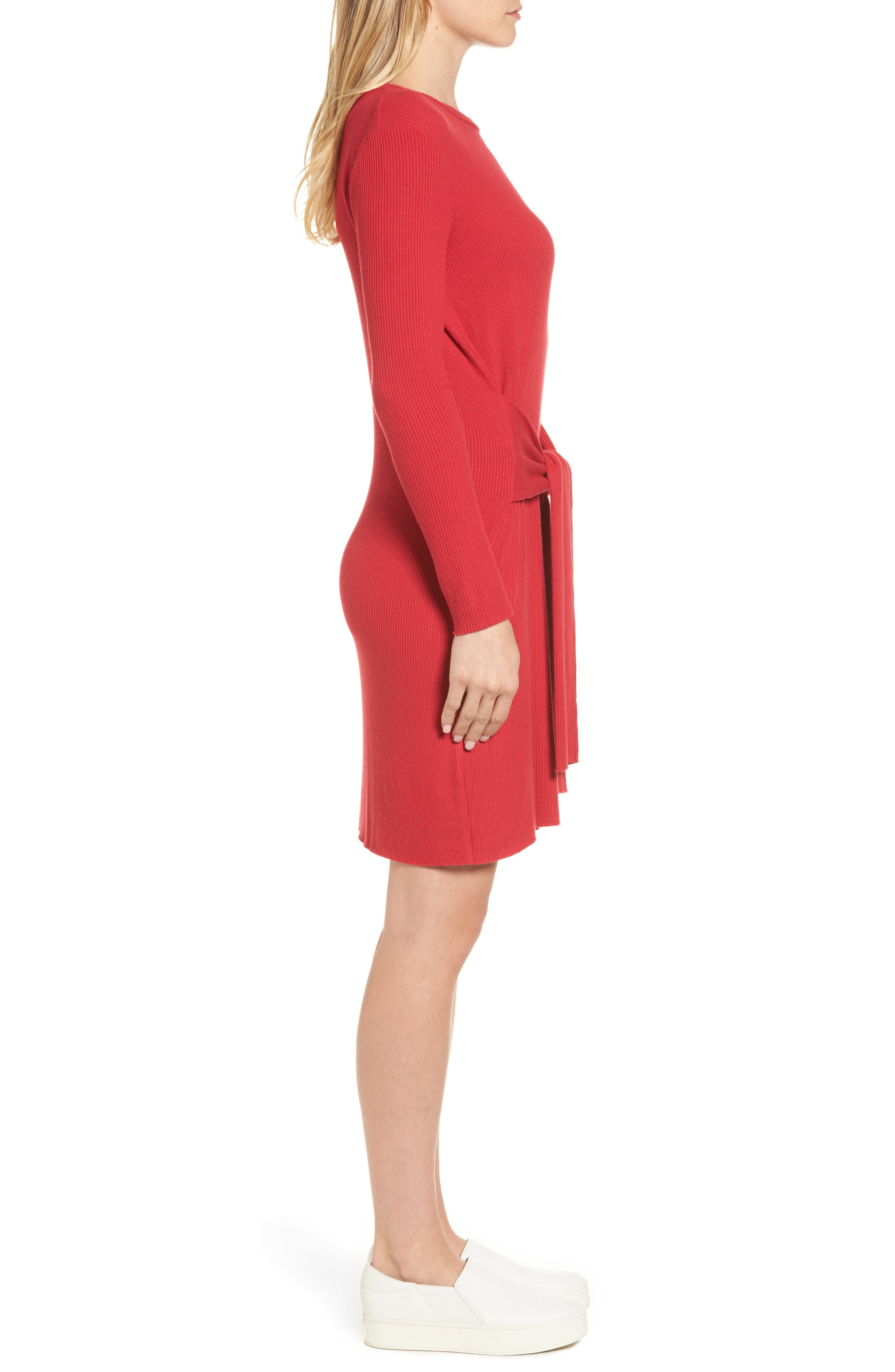 Ribbed Tie-Waist Sweater Dress,                             Alternate thumbnail 3, color,                             600