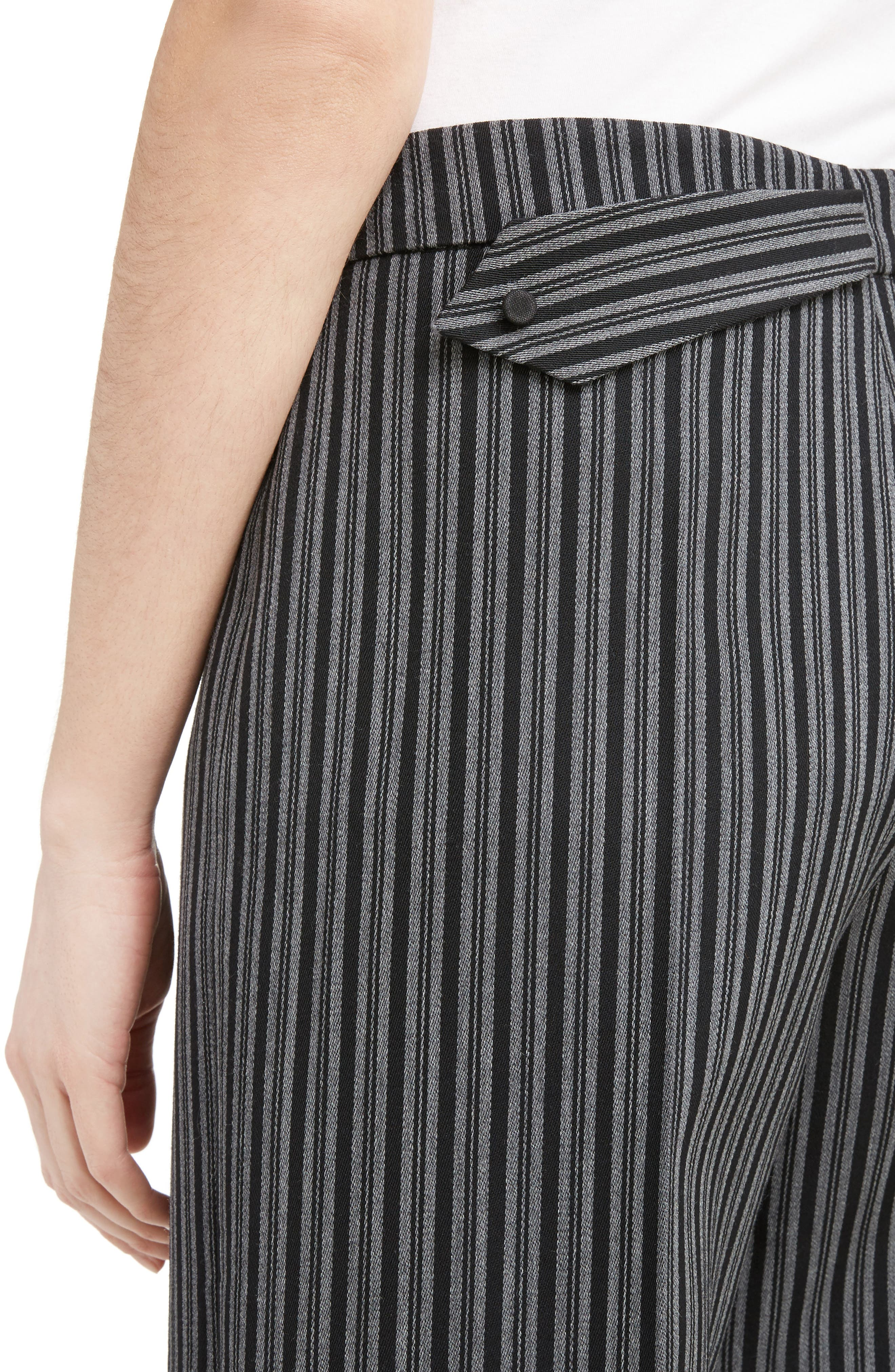 Pinstripe Pleated Wide Leg Wool Pants,                             Alternate thumbnail 4, color,