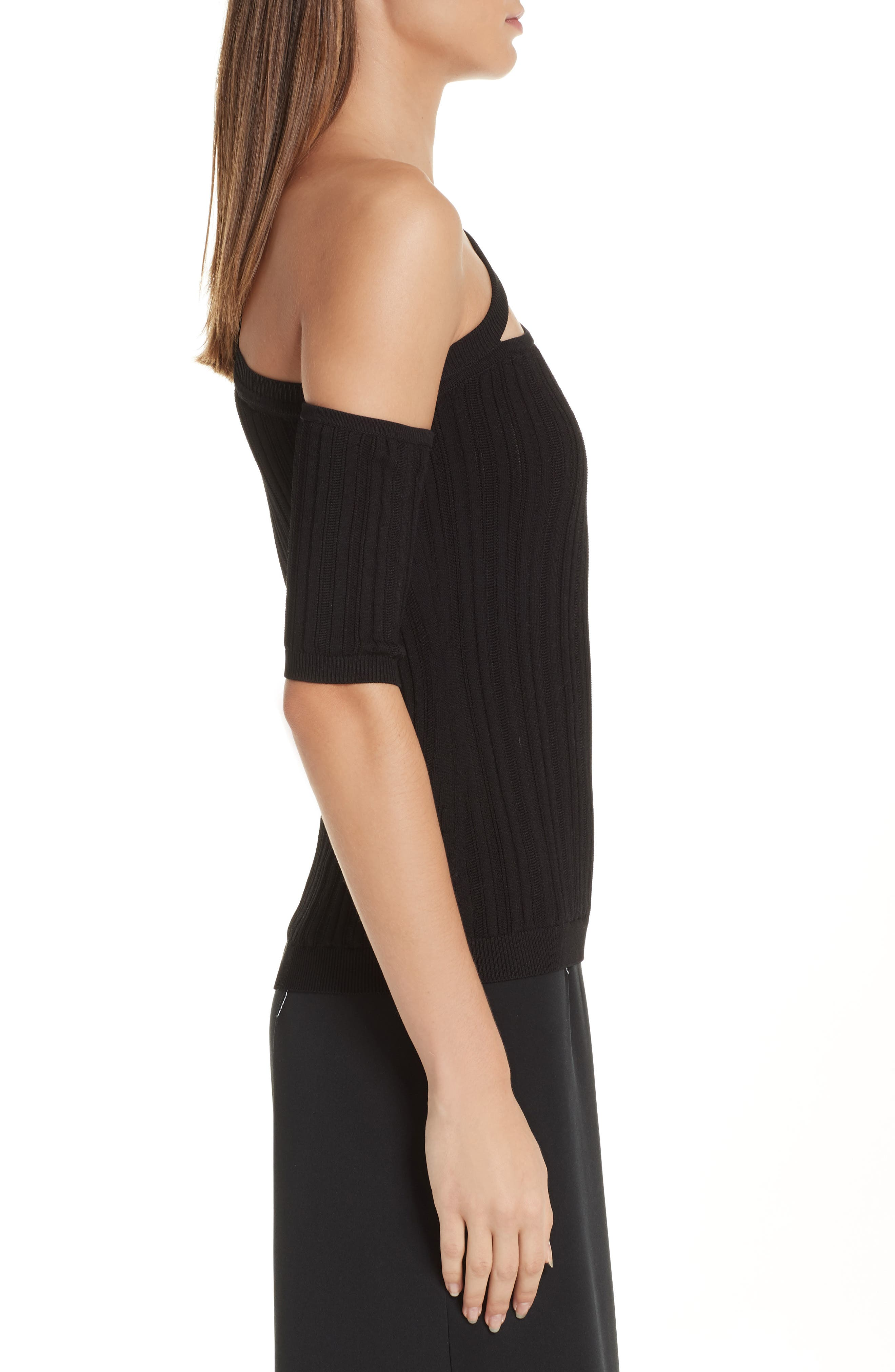 CUSHNIE,                             Cutout One-Shoulder Top,                             Alternate thumbnail 3, color,                             BLACK
