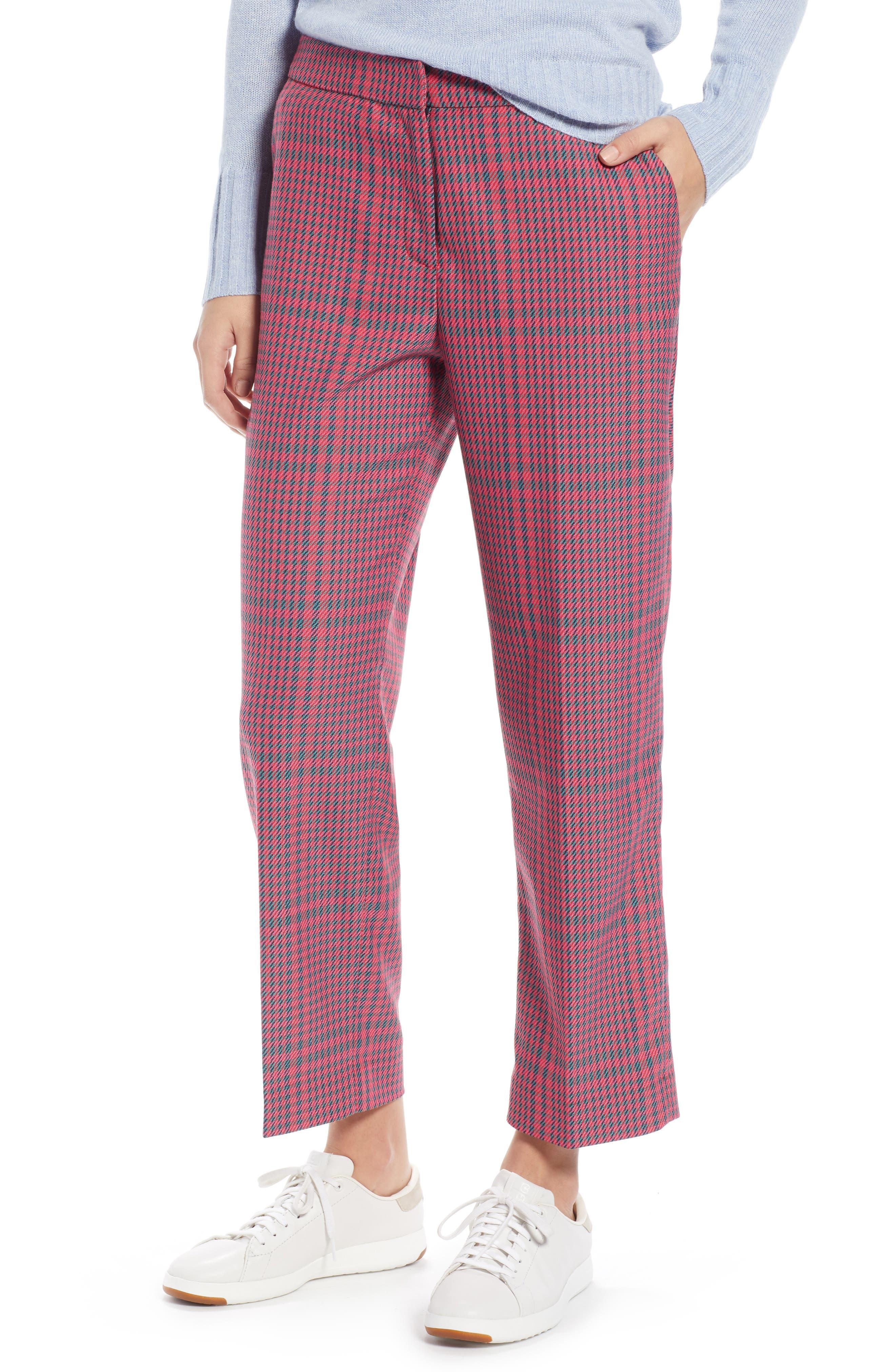 1901 Straight Leg Plaid Pants, Main, color, PINK SIMONE PLAID