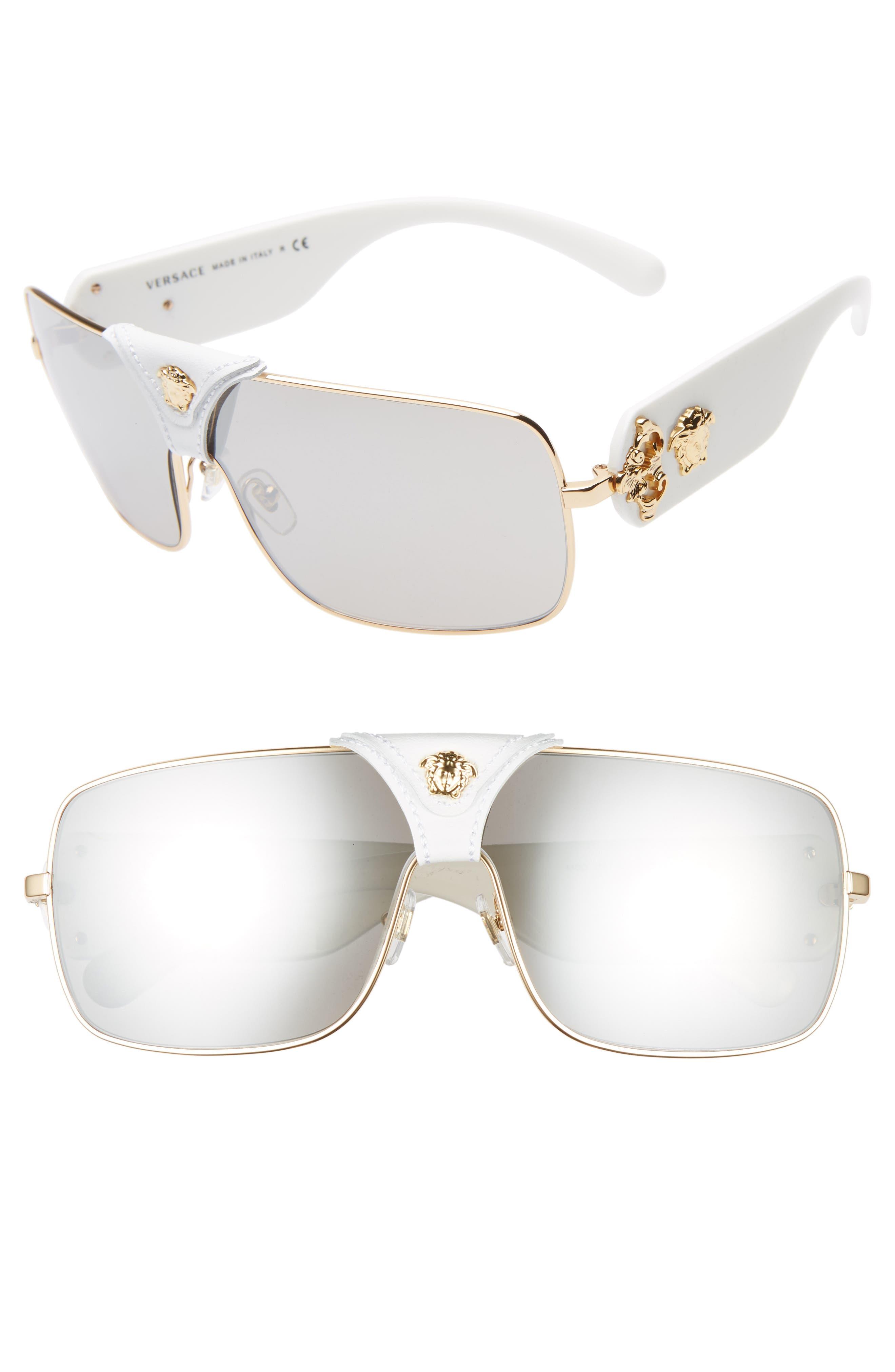 4aaf98cd726 Versace 145Mm Mirrored Shield Sunglasses - Black  Gold