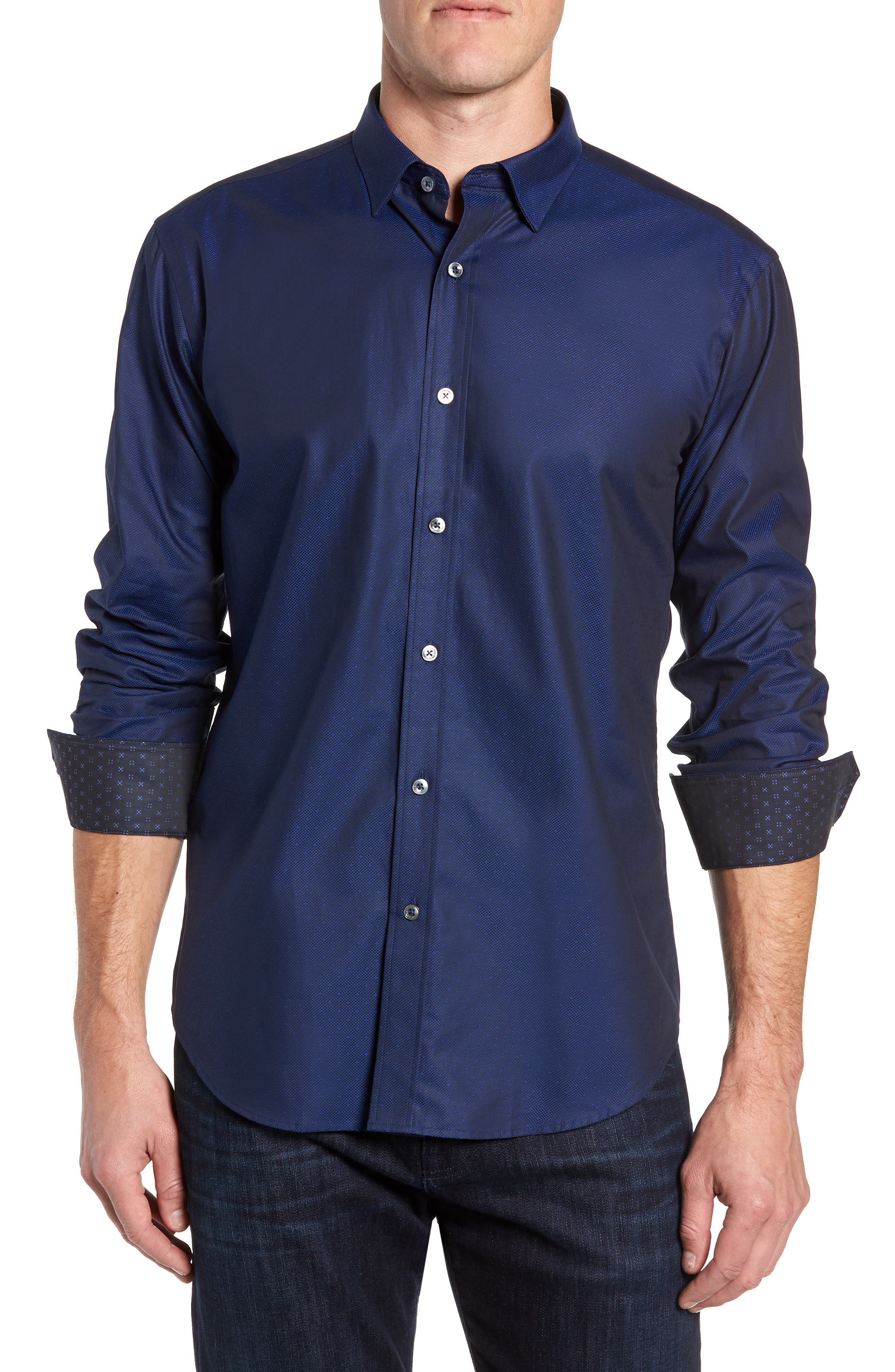 Shaped Fit Sport Shirt,                         Main,                         color, MIDNIGHT