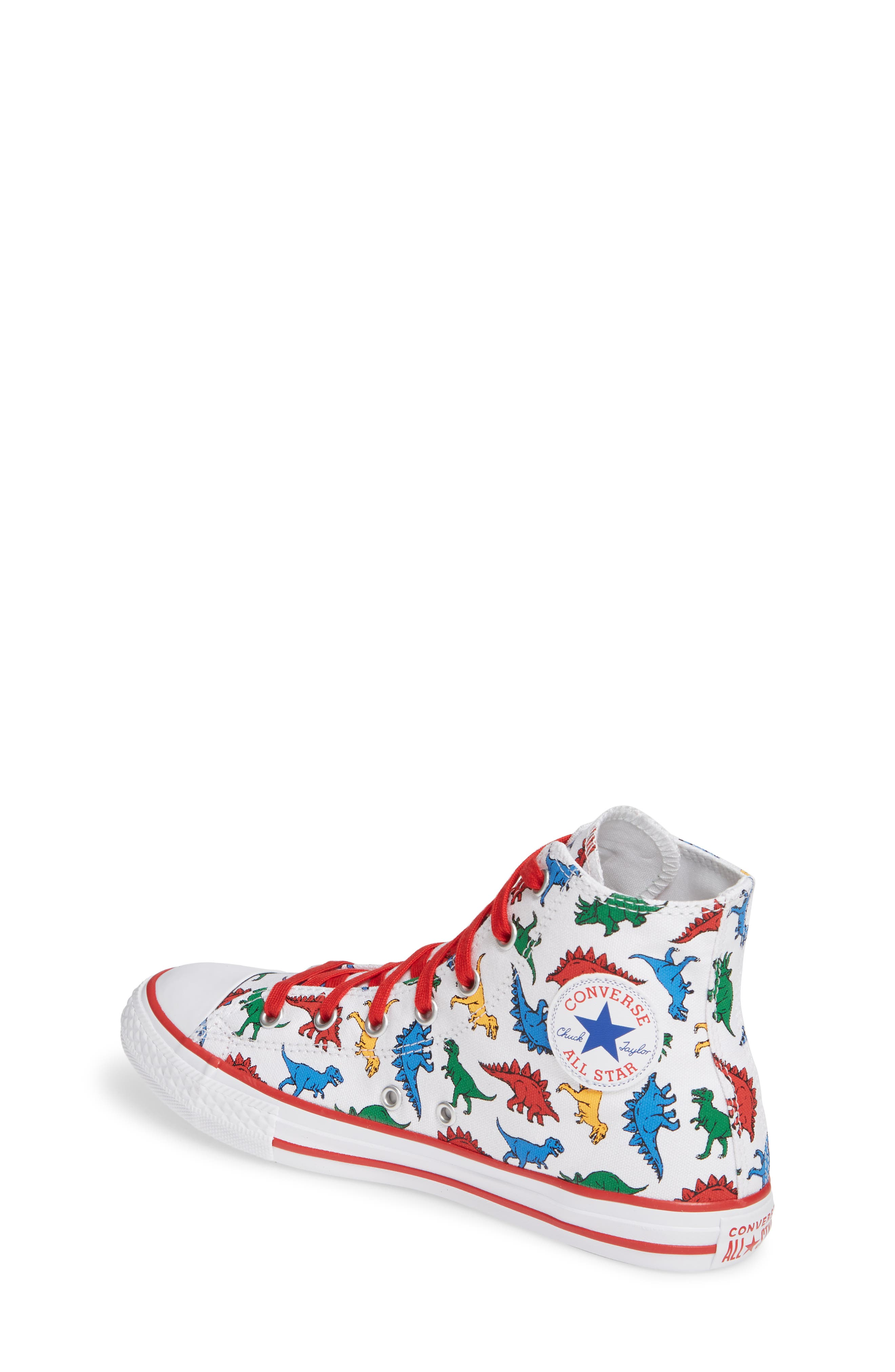 CONVERSE,                             Chuck Taylor<sup>®</sup> All Star<sup>®</sup> Dino High Top Sneaker,                             Alternate thumbnail 2, color,                             WHITE/ ENAMEL RED/ BLUE DINO
