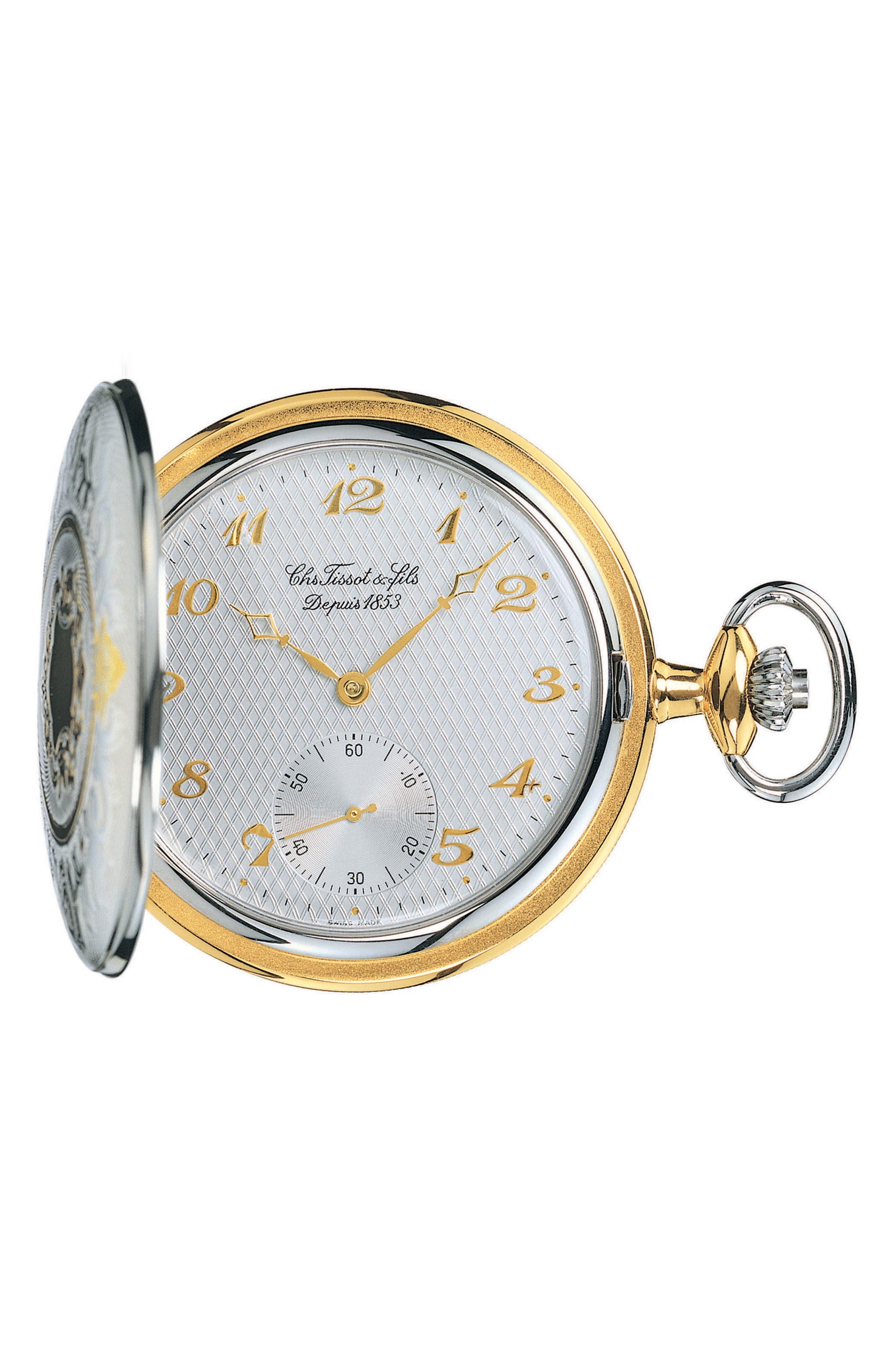 TISSOT,                             Savonnette Pocket Watch, 49mm,                             Main thumbnail 1, color,                             SILVER/ BRASS