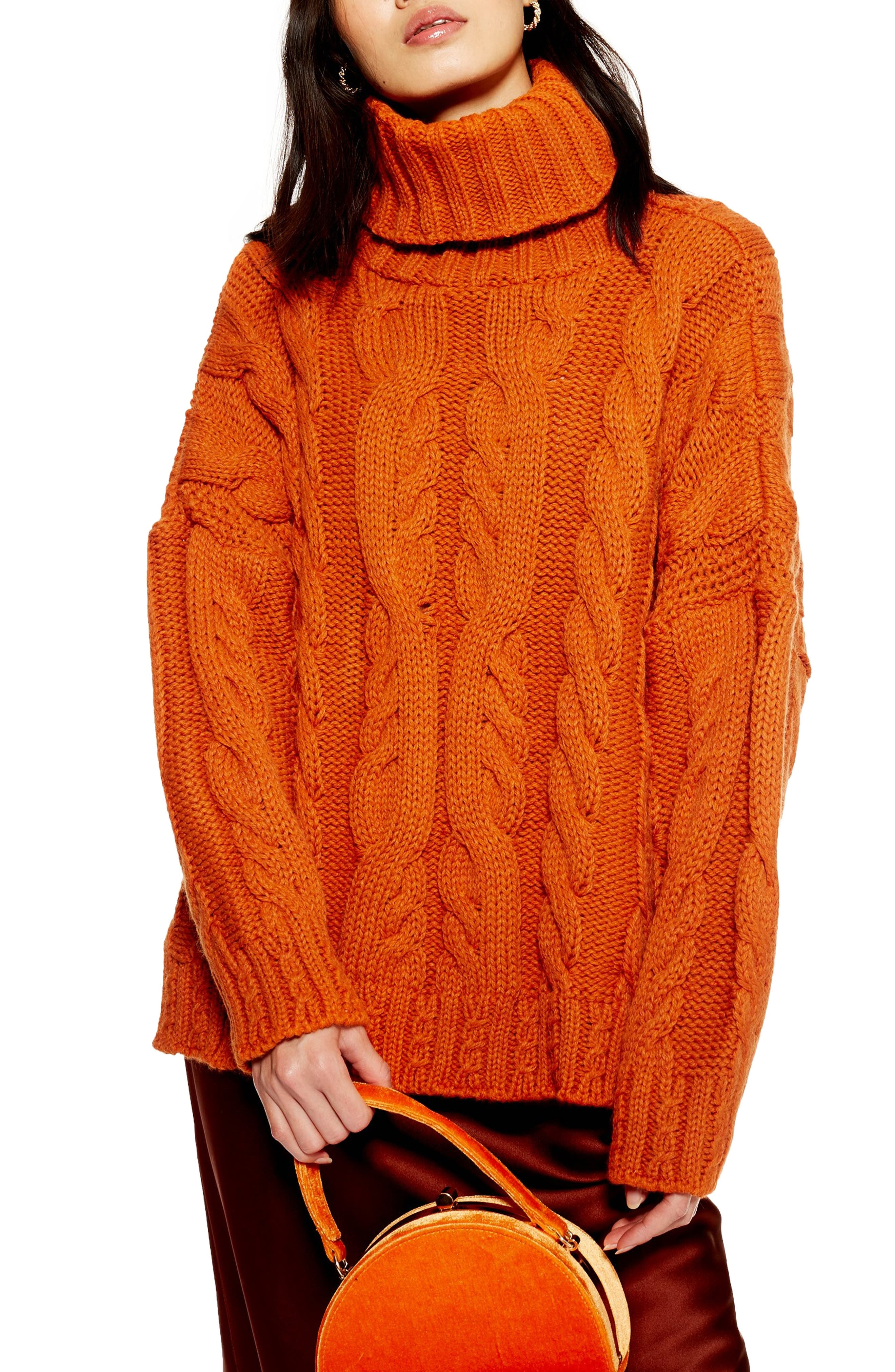 TOPSHOP Chunky Cable Turtleneck Sweater, Main, color, BROWN