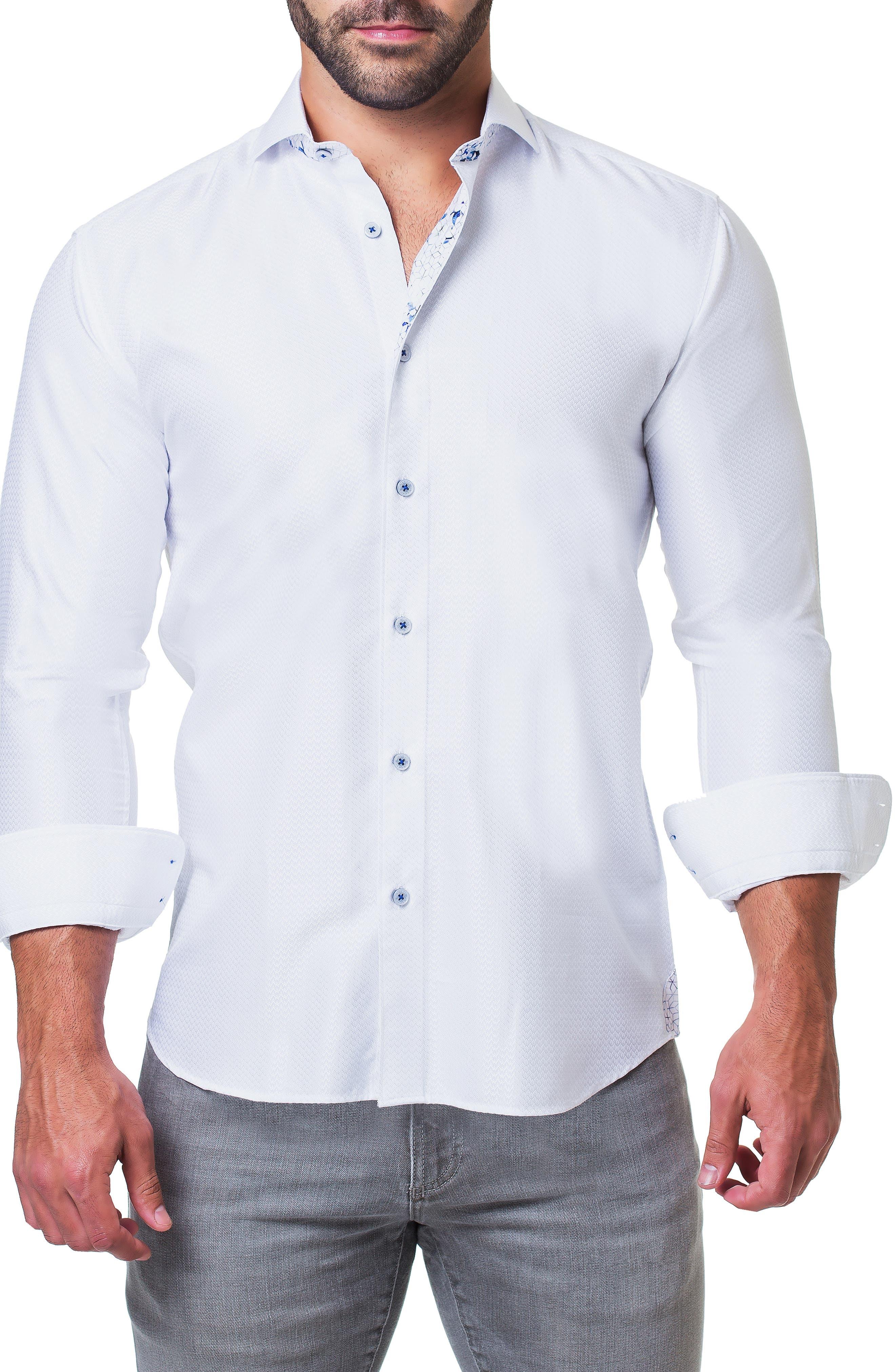 Einstein Ripple Trim Fit Sport Shirt,                             Alternate thumbnail 4, color,                             110