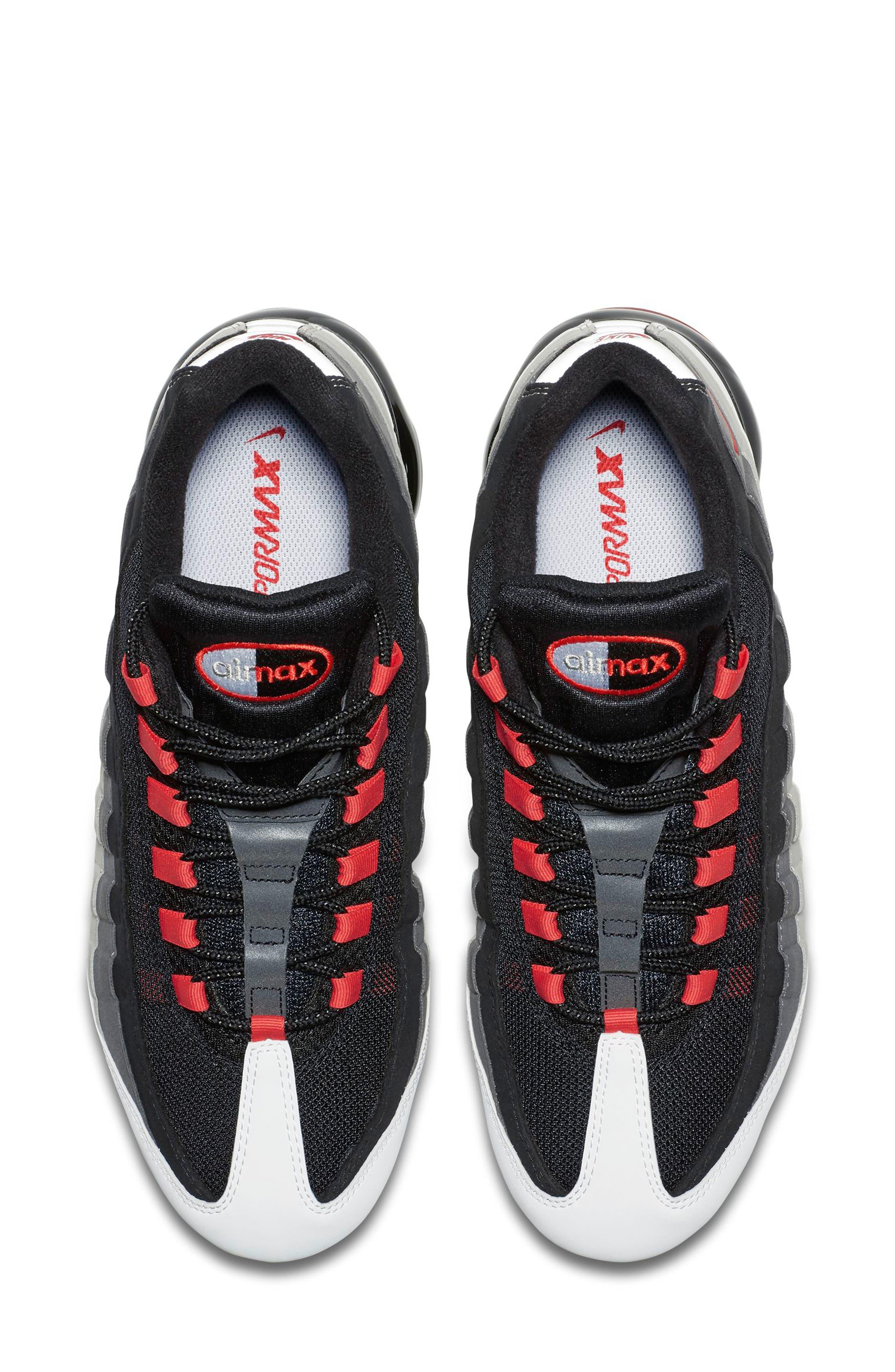 Air VaporMax '95 Sneaker,                             Alternate thumbnail 4, color,                             WHITE/ RED/ PEWTER/ GRANITE