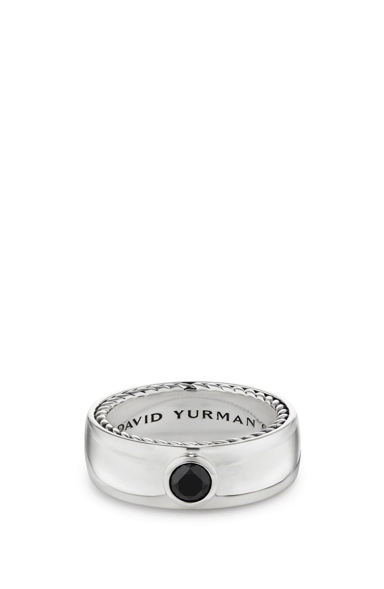 Streamline Band Ring with Black Diamond, 6mm,                         Main,                         color, SILVER/ BLACK DIAMOND