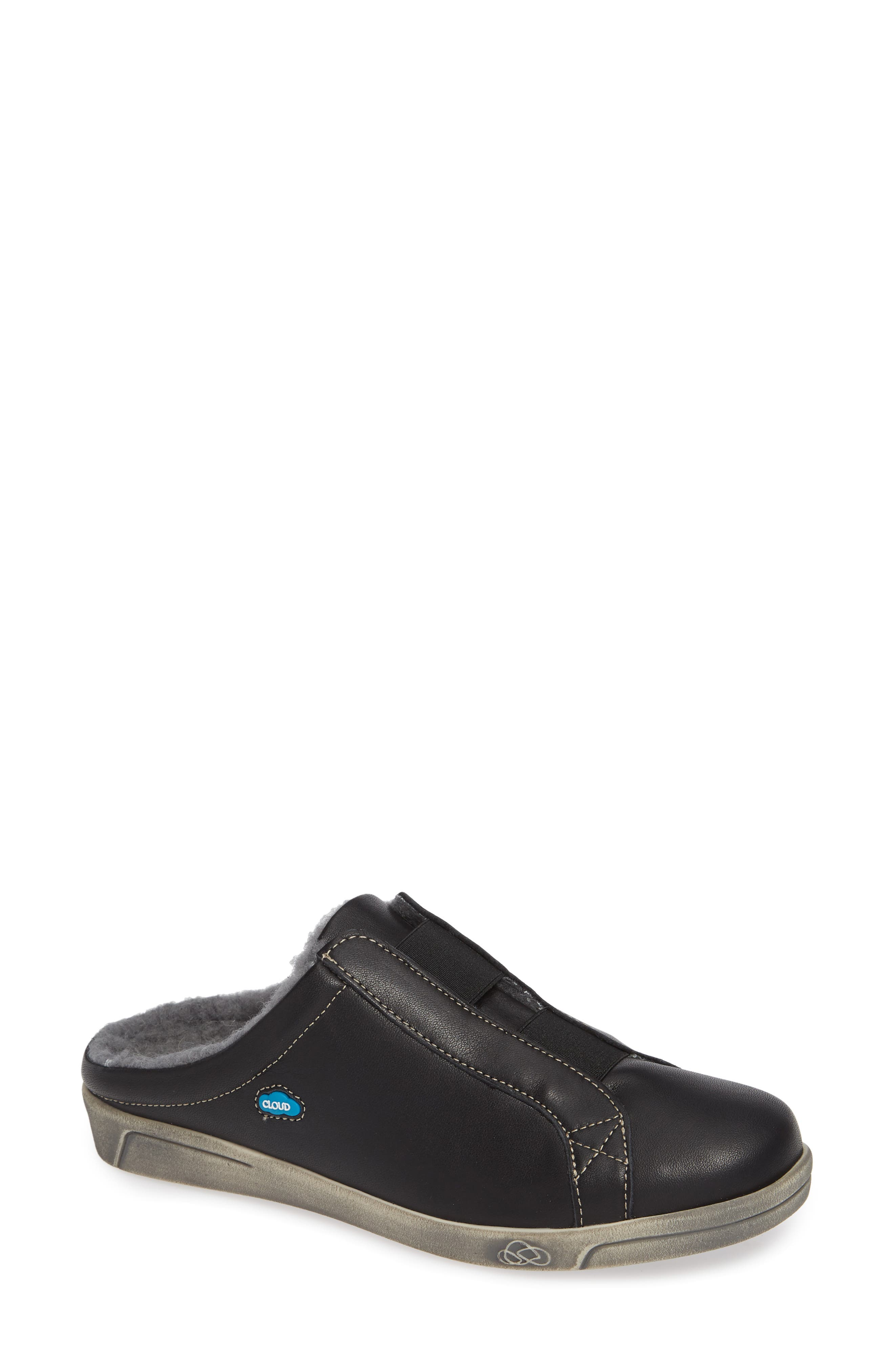 Alexis Wool Lined Backless Sneaker, Main, color, BLACK LEATHER