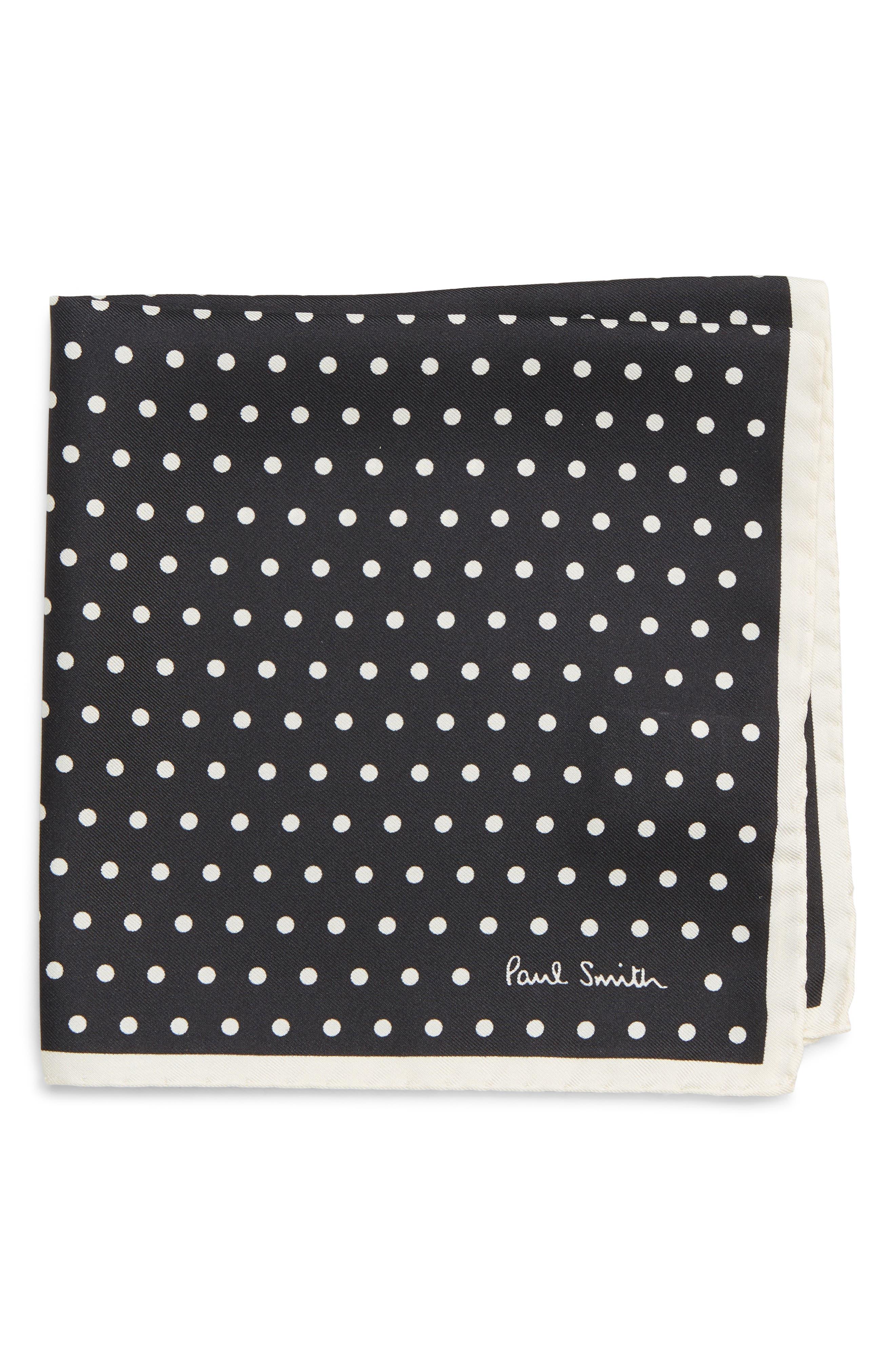 Polka Dot Silk Pocket Square,                         Main,                         color, BLACK