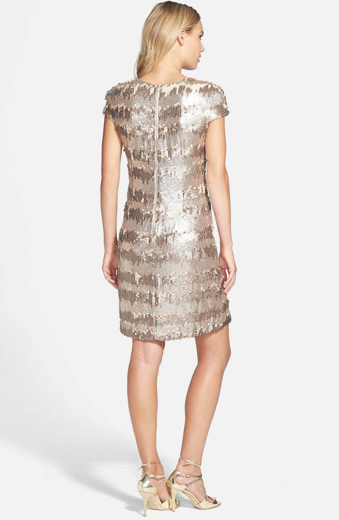Gold Paillette & Sequin Shift Dress,                             Alternate thumbnail 4, color,                             710