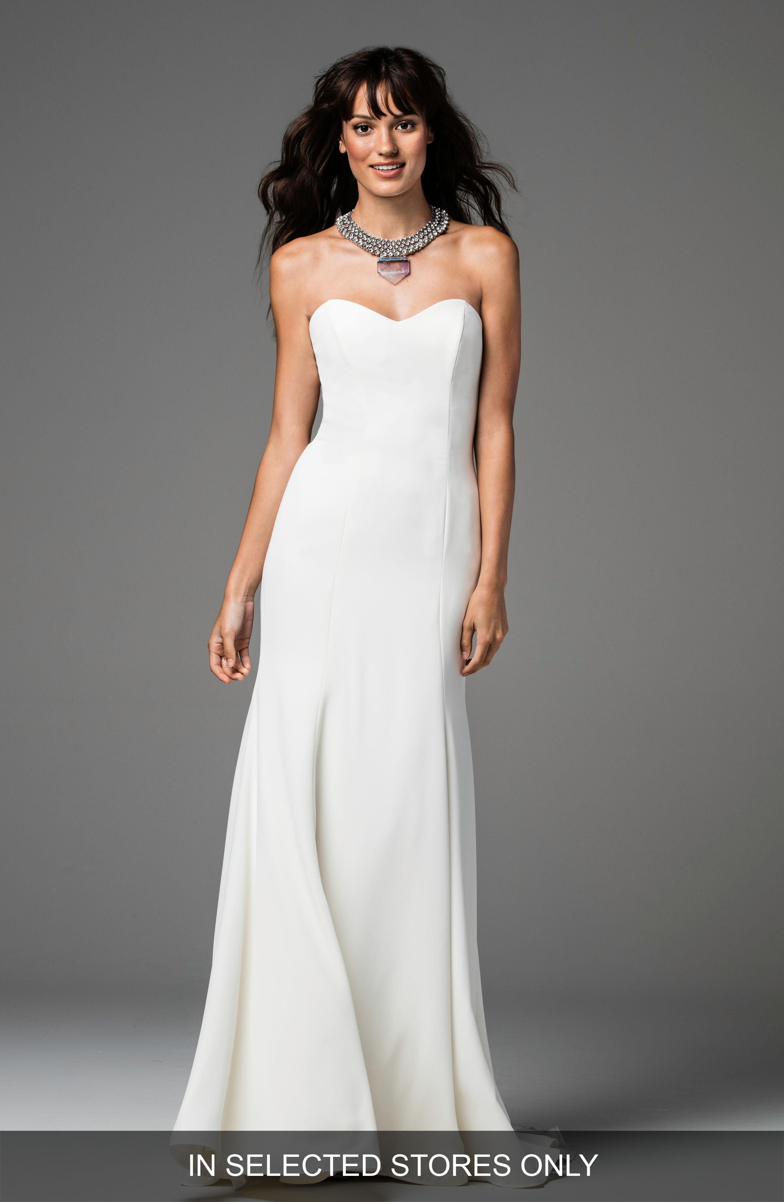 Caspia Strapless Georgette Fit & Flare Gown,                             Main thumbnail 1, color,                             IVORY/IVORY