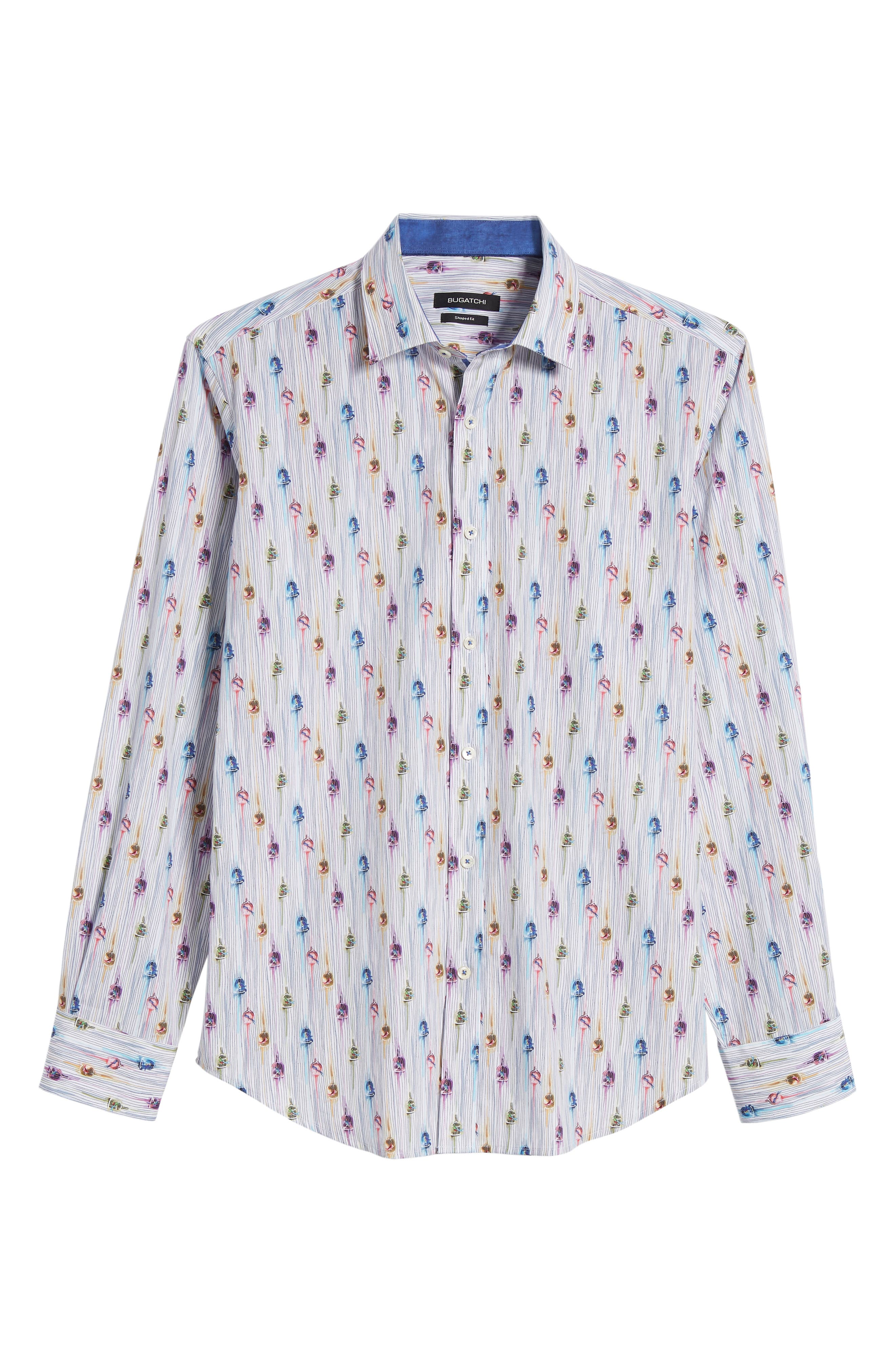 Shaped Fit Caged Bird Sport Shirt,                             Alternate thumbnail 6, color,