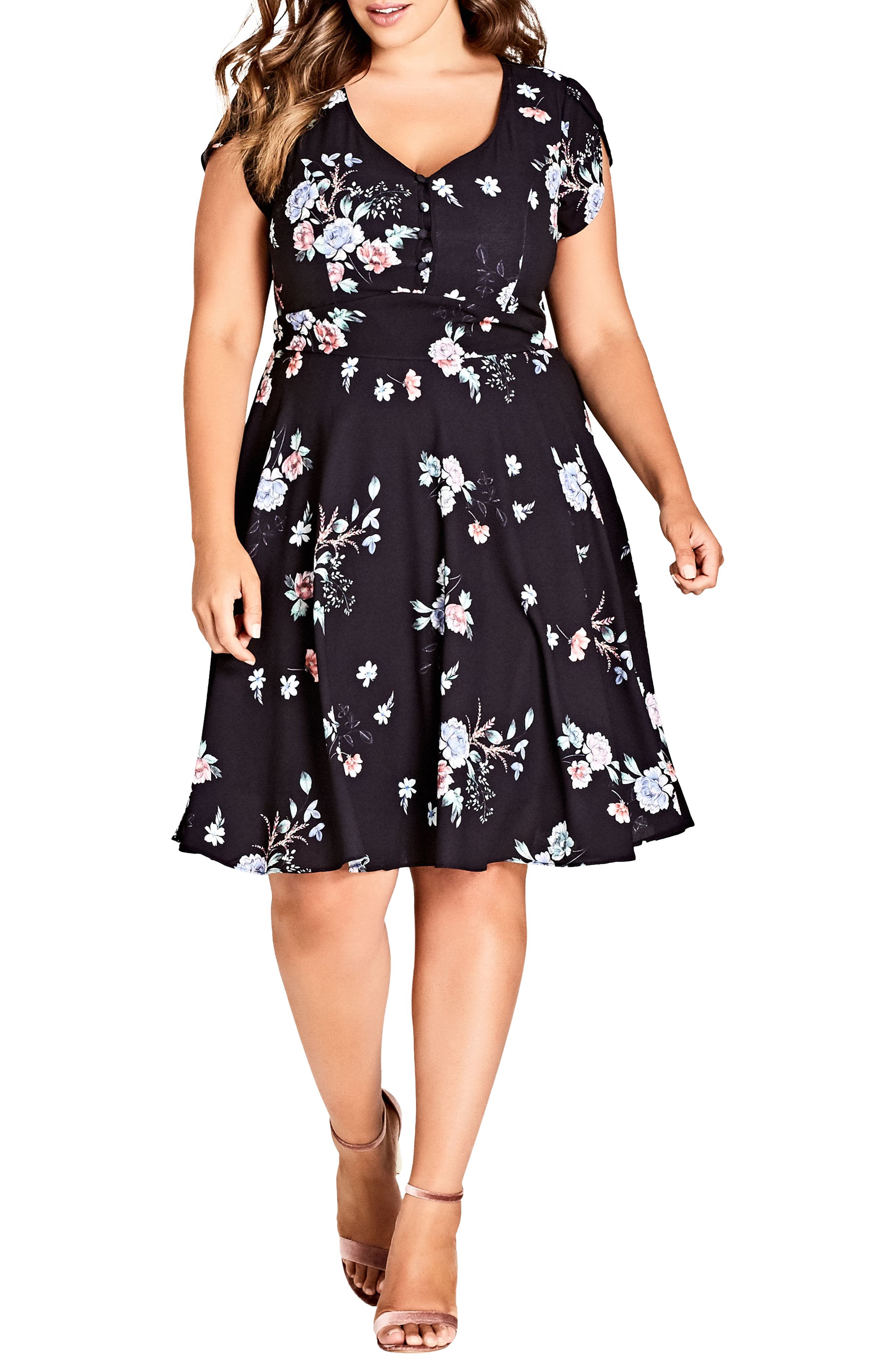 Lovely Blooms Fit & Flare Dress,                         Main,                         color, LOVELY BLOOMS