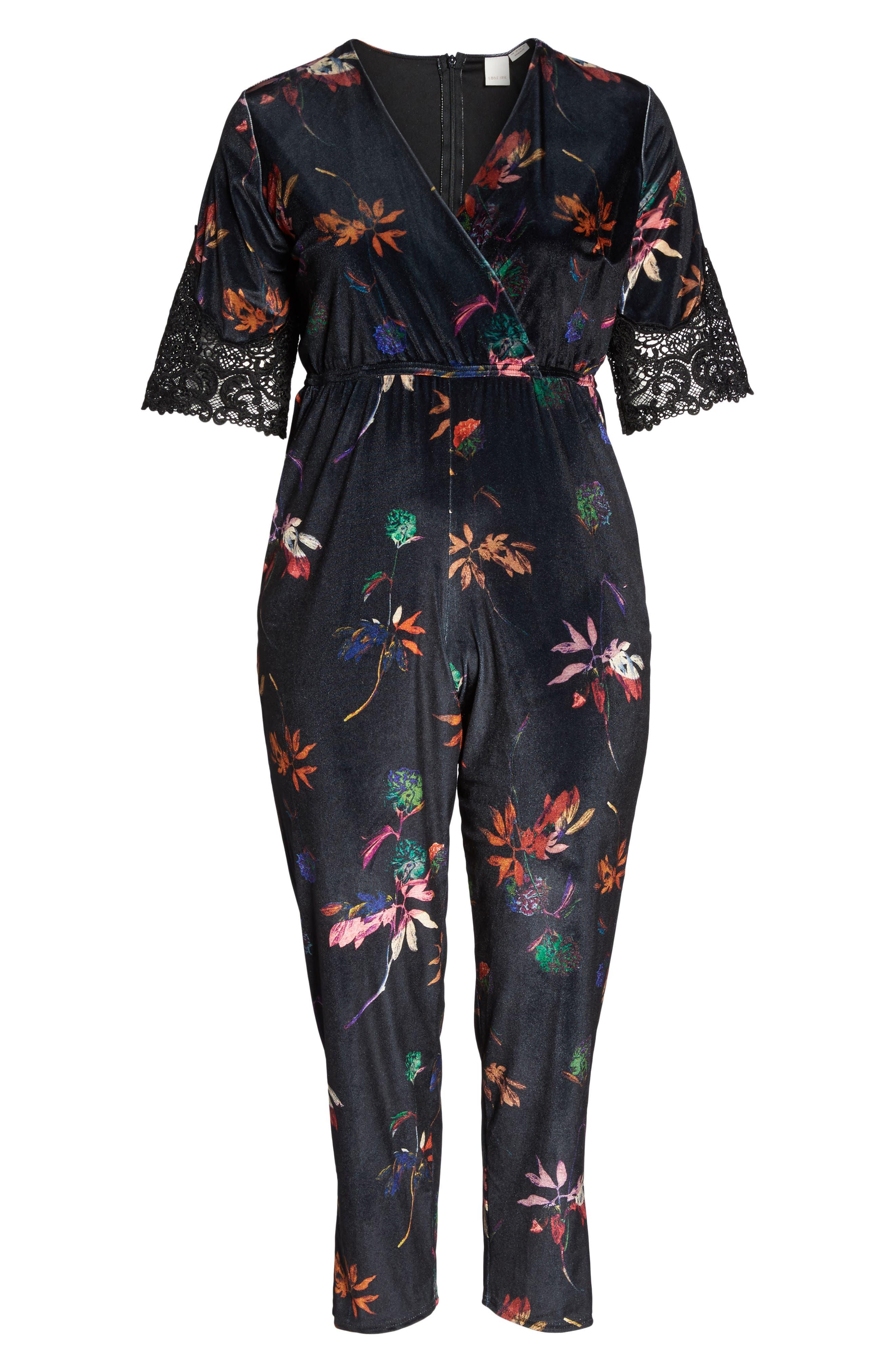 Velvet Floral Jumpsuit,                             Alternate thumbnail 6, color,                             001