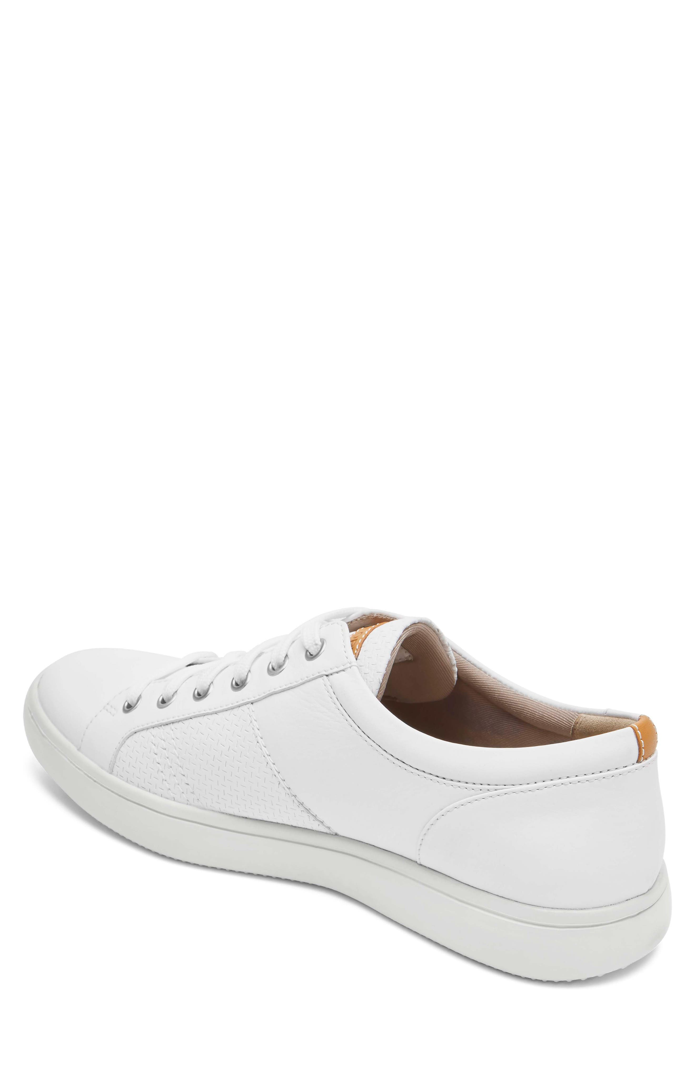 College Textured Sneaker,                             Alternate thumbnail 2, color,                             WHITE LEATHER